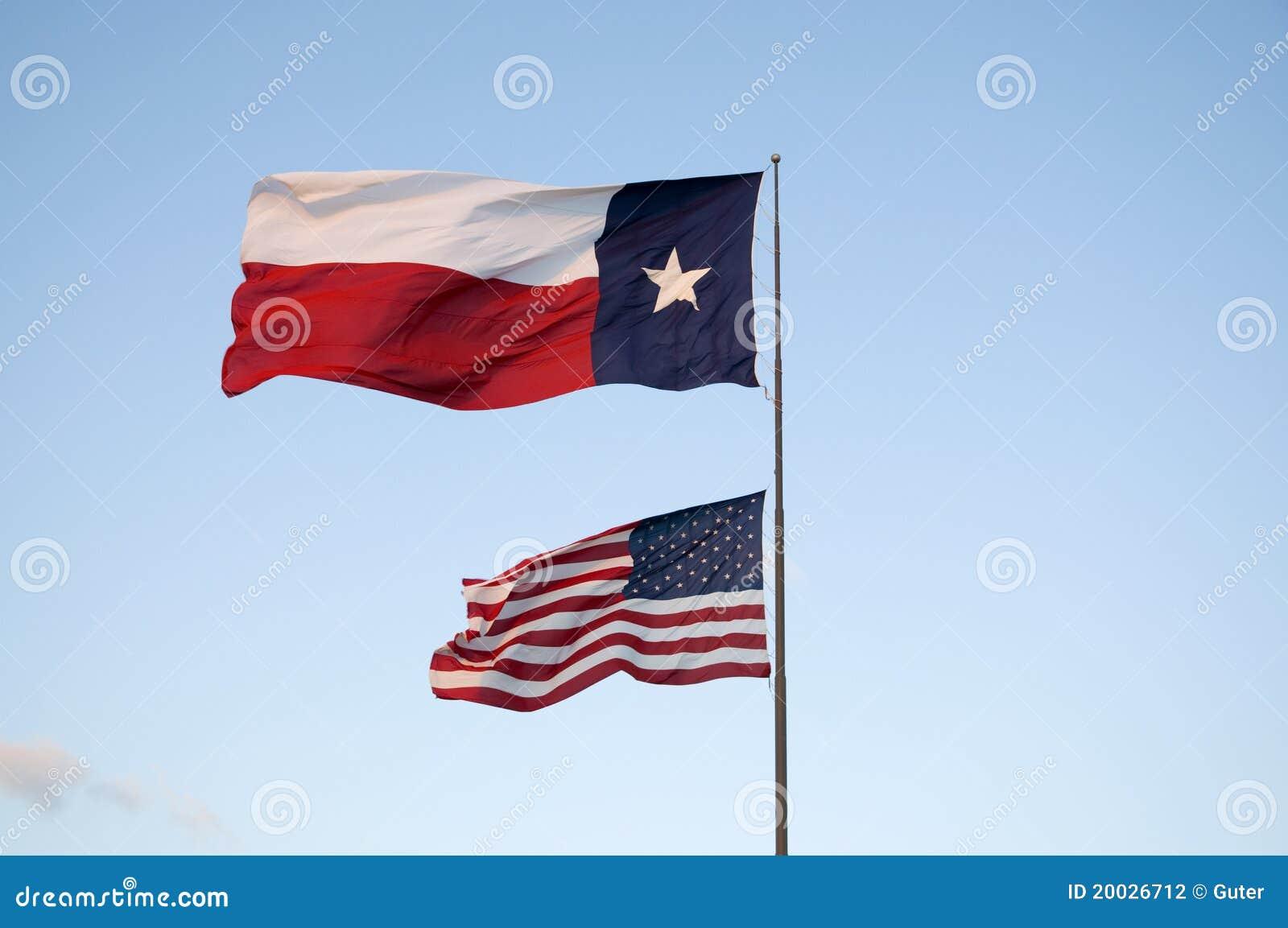 Bandeiras de Texas e de E.U.