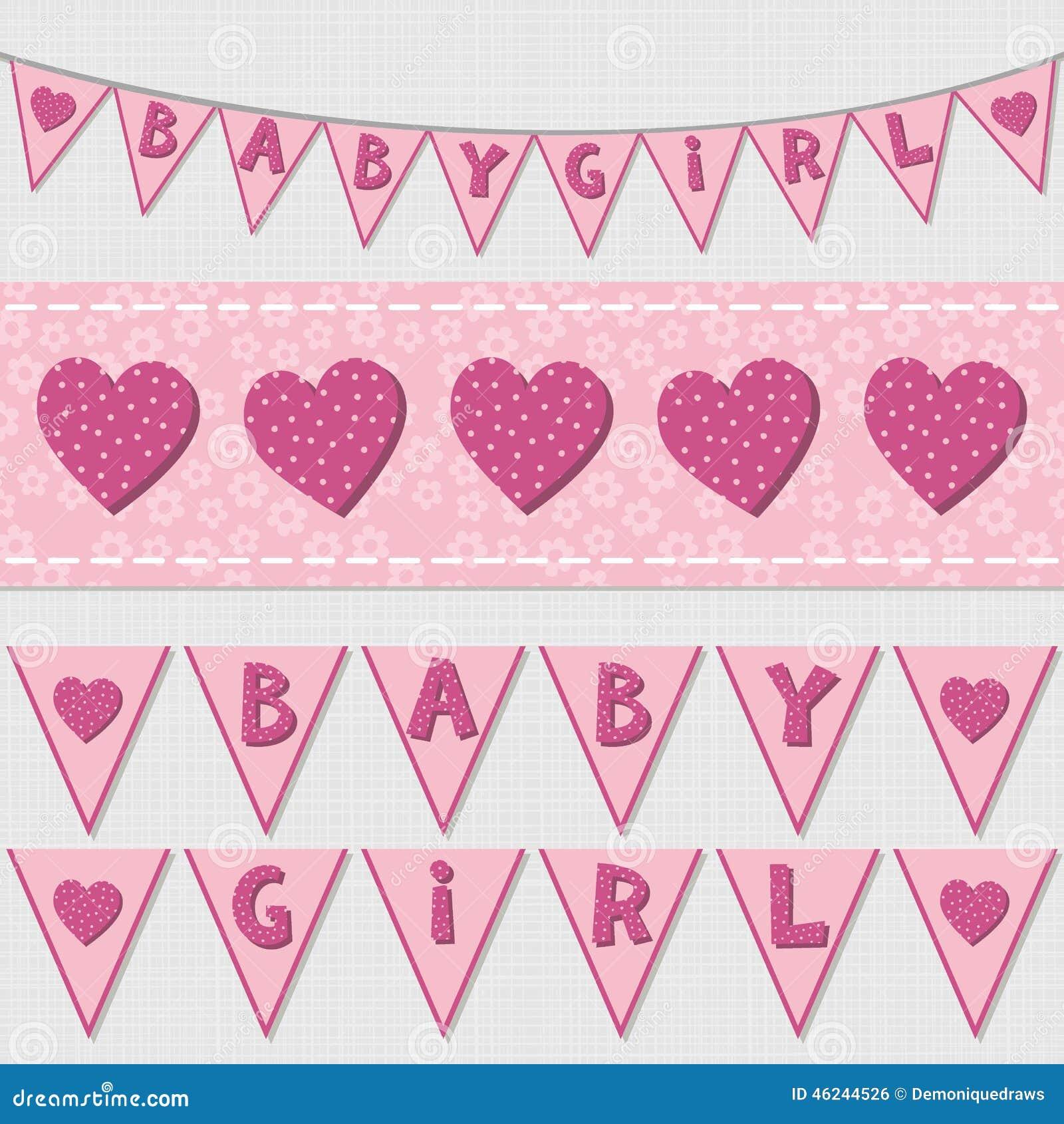 Bandeiras do aniversário do chuveiro do bebê e grupo cor-de-rosa da estamenha da fita