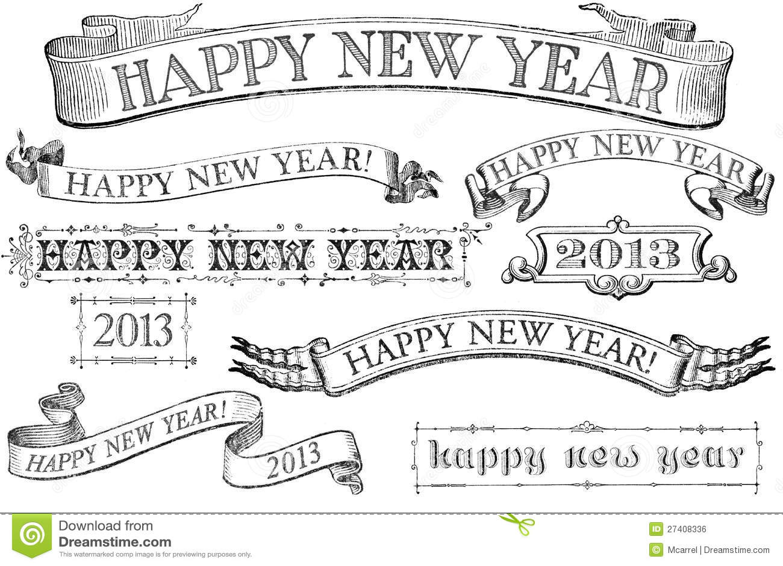 Bandeiras do ano novo feliz do estilo do vintage