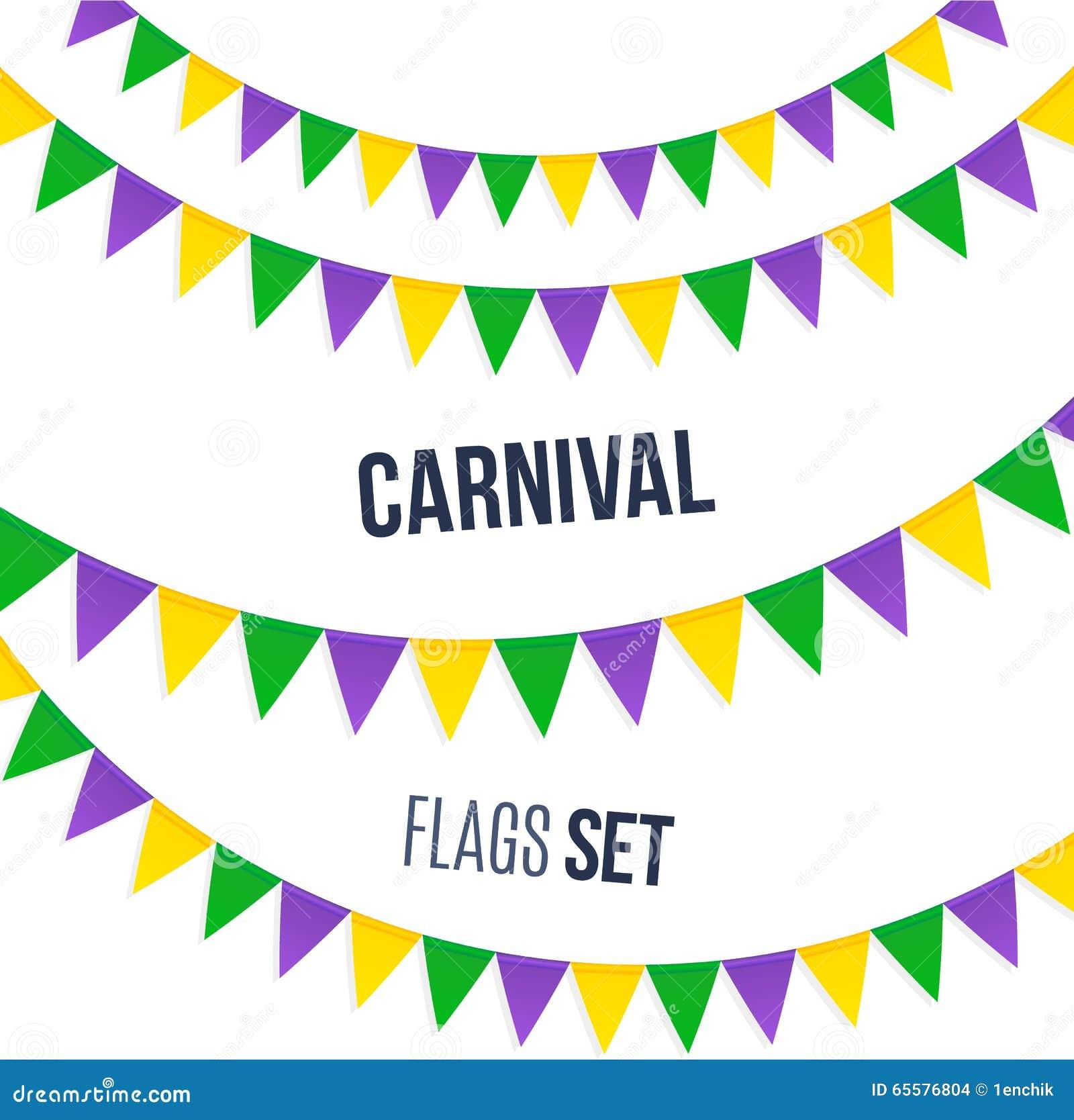 Bandeiras do carnaval ajustadas isoladas no fundo branco