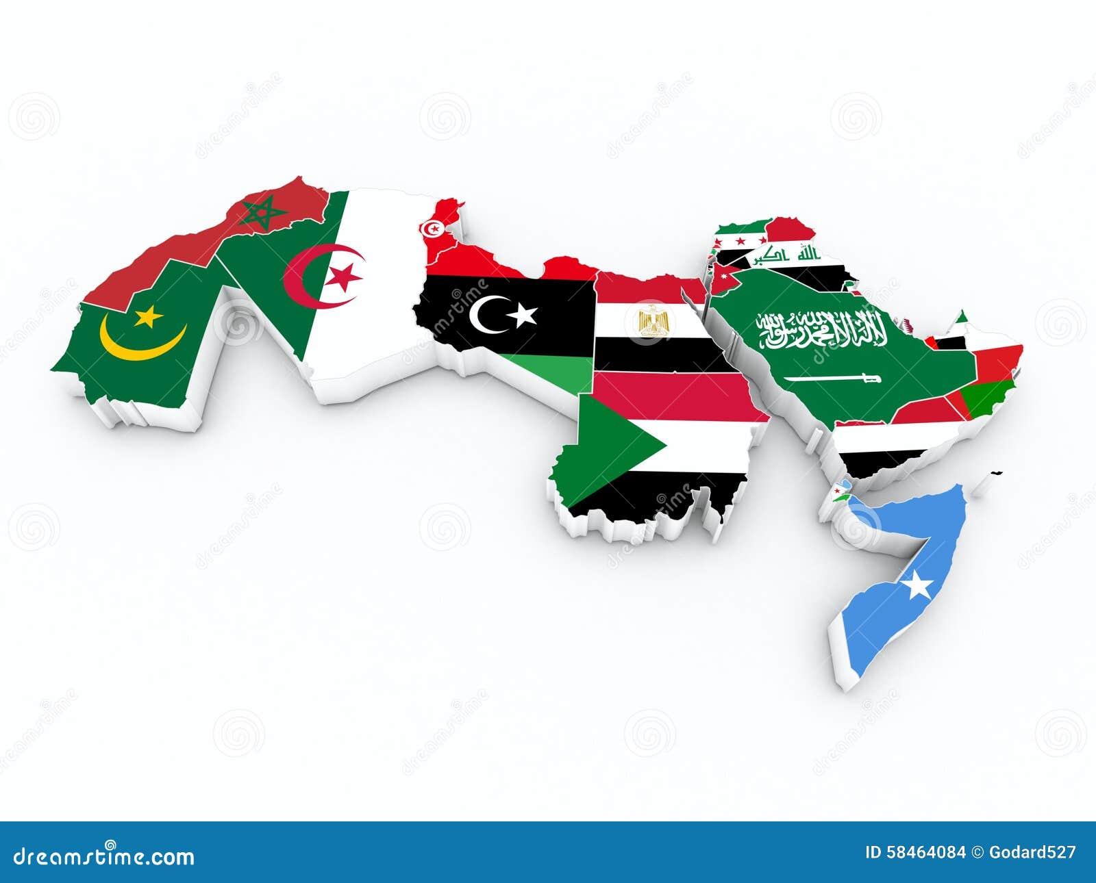 Bandeiras do membro da liga árabe no mapa 3D