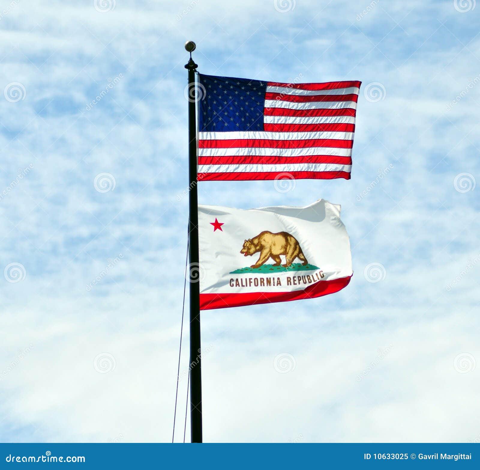 Bandeiras dos E.U. e da Califórnia