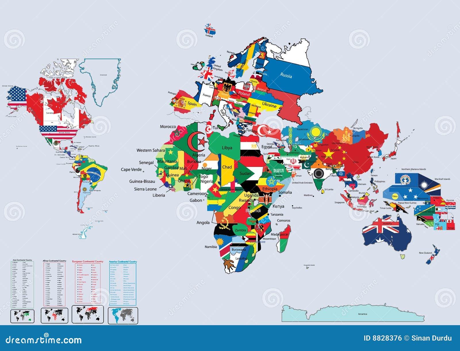 Mapa De Localização De Pontos De Vetor Localização De: Bandeiras E Mapa De País Do Mundo Ilustração Do Vetor