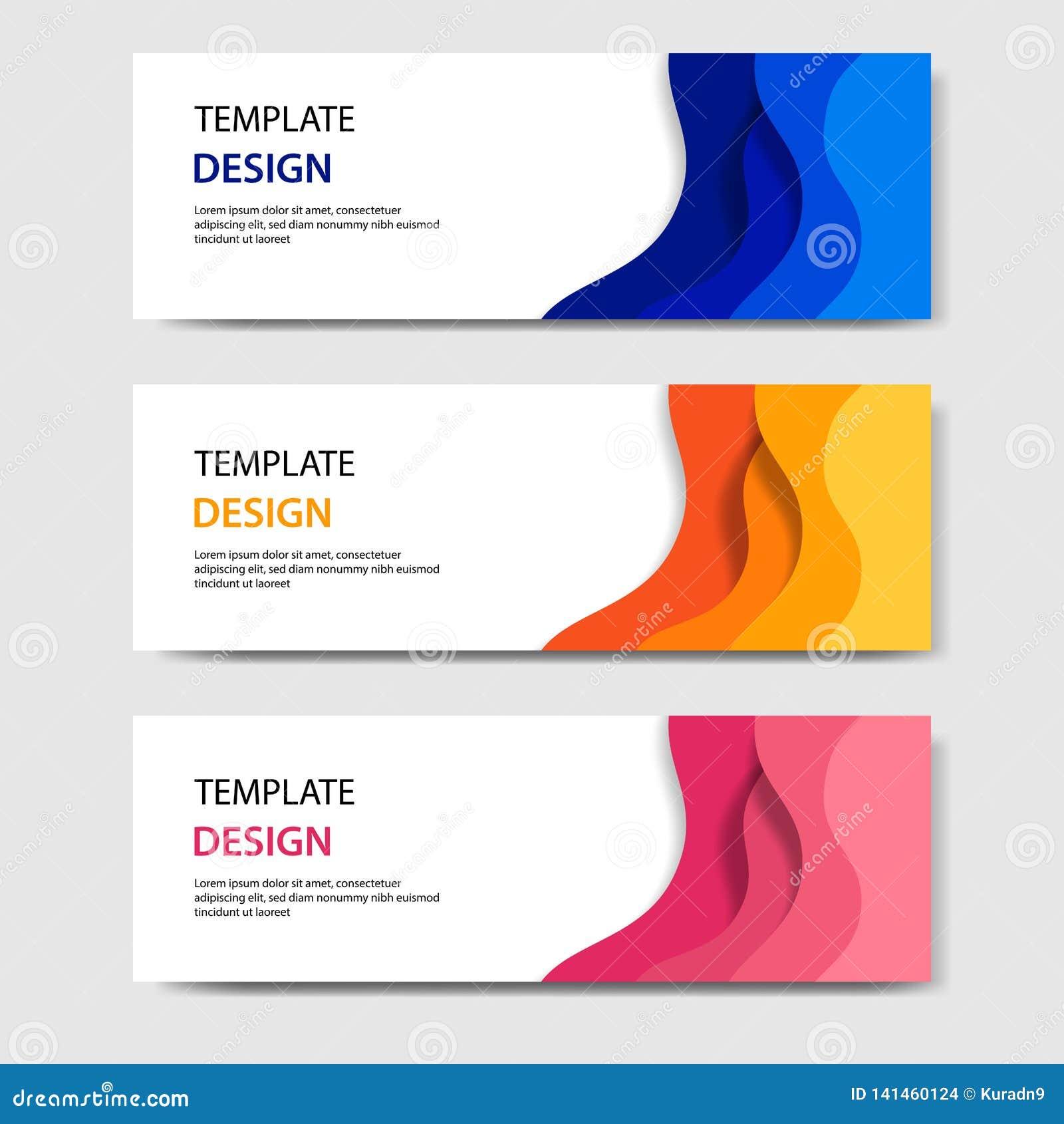 Bandeiras horizontais com estilo cortado de papel do sumário 3D Disposição de projeto para a Web, bandeira do vetor, encabeçament