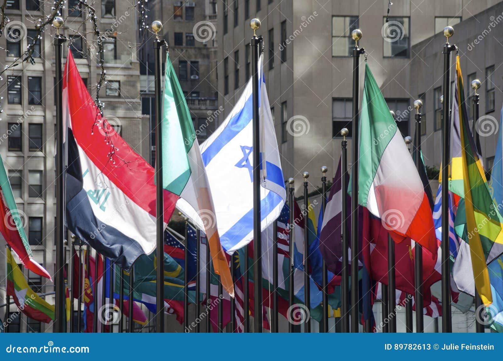 Bandeiras no centro de Rockefeller