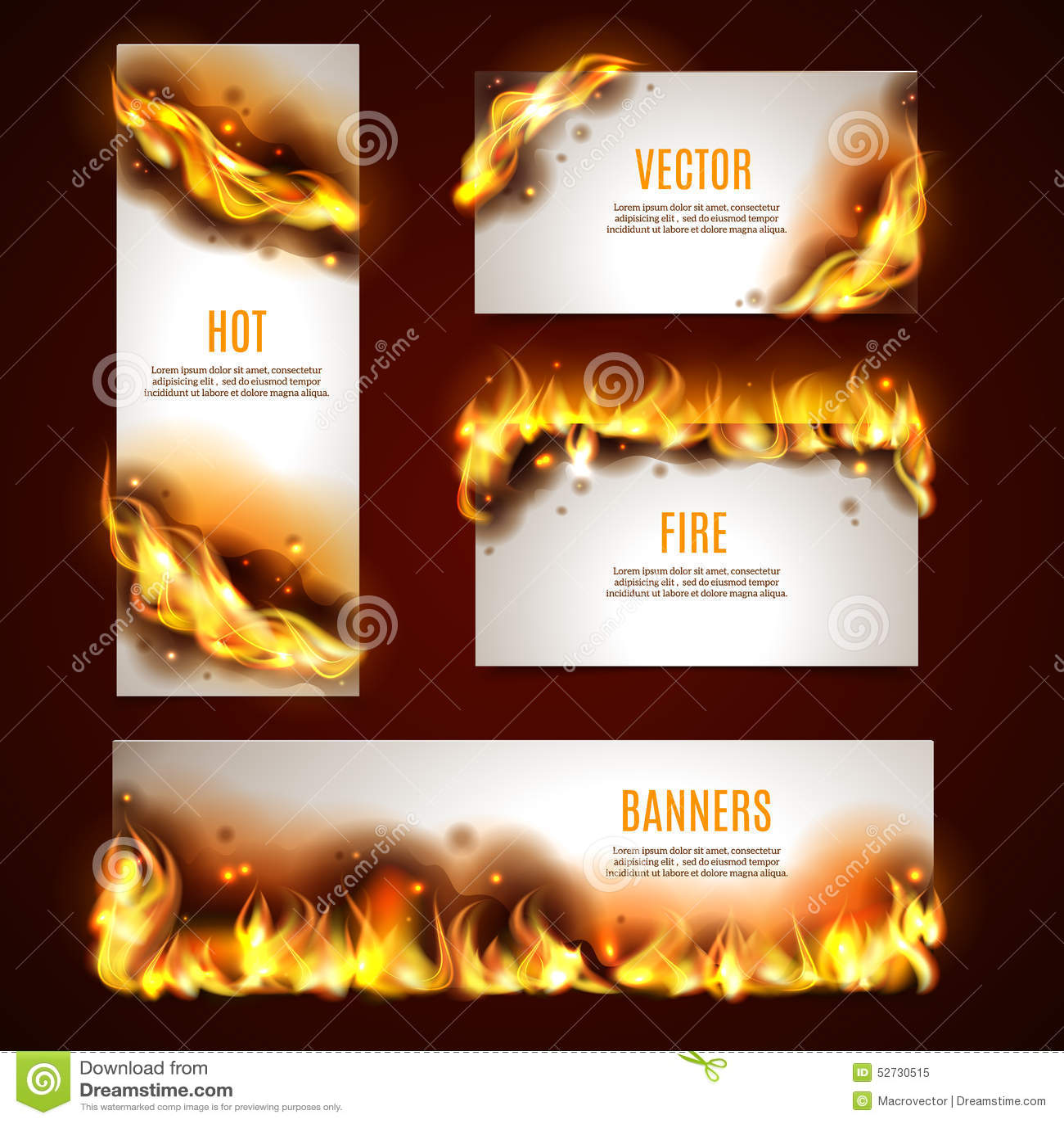 Bandeiras quentes do fogo ajustadas