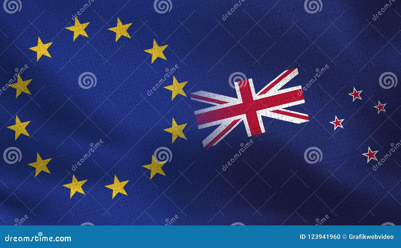 Bandeiras realísticas da UE e da Nova Zelândia meias junto