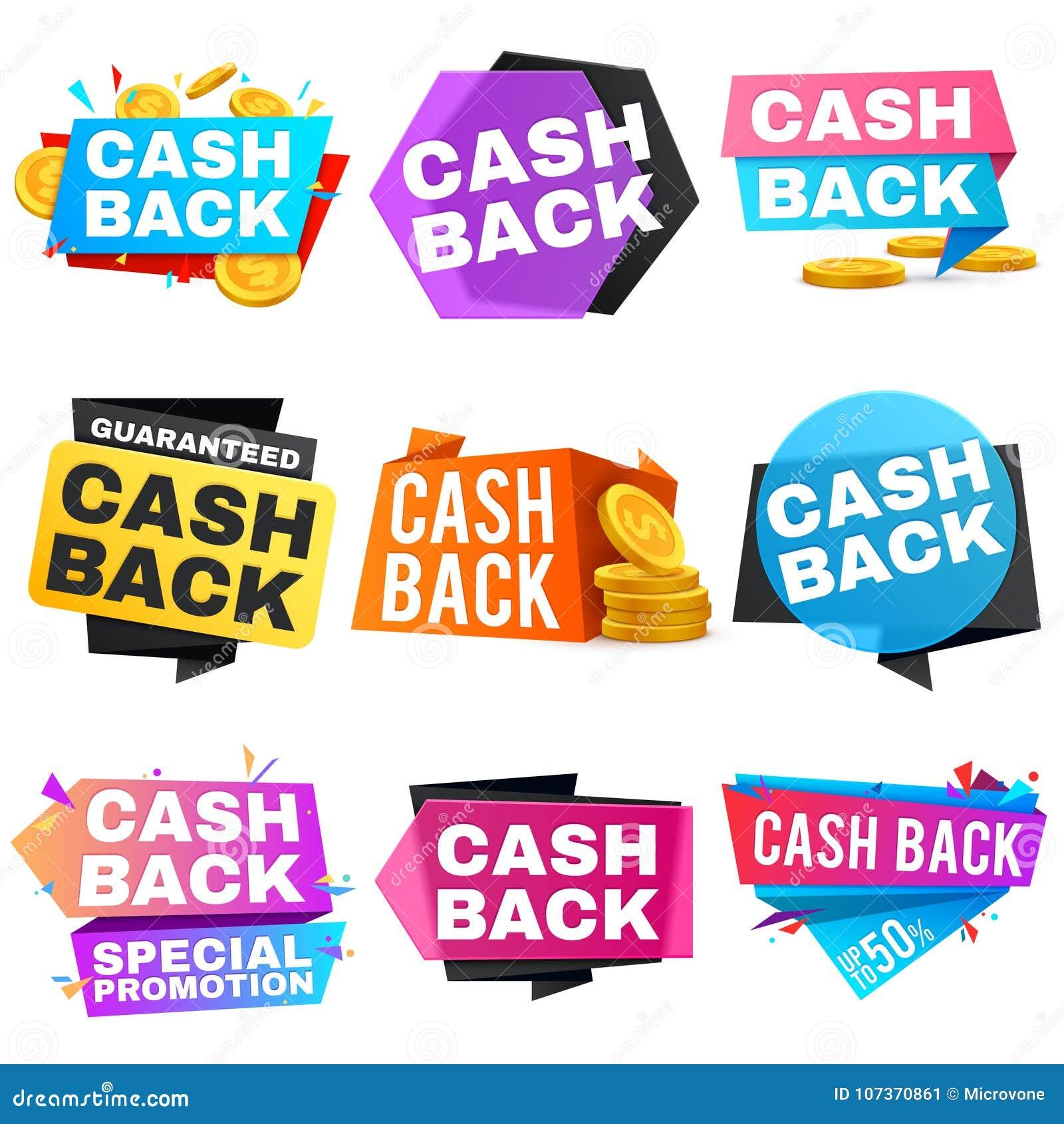 Bandeiras traseiras da venda do vetor do dinheiro com fitas Ícones do reembolso da economia e do dinheiro