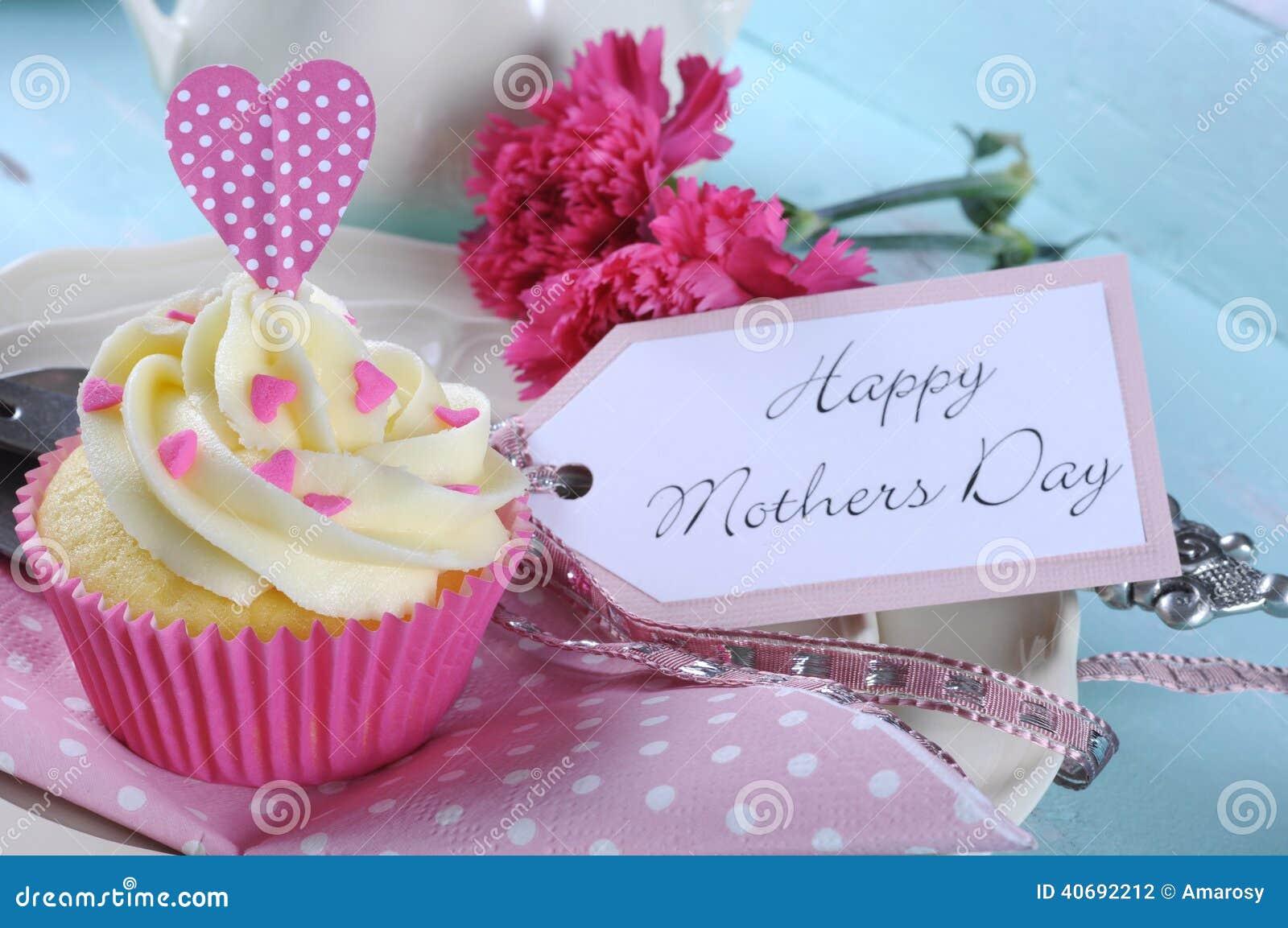 Bandeja chique gasto retro do vintage azul feliz do aqua do dia de mães com fim cor-de-rosa do queque acima