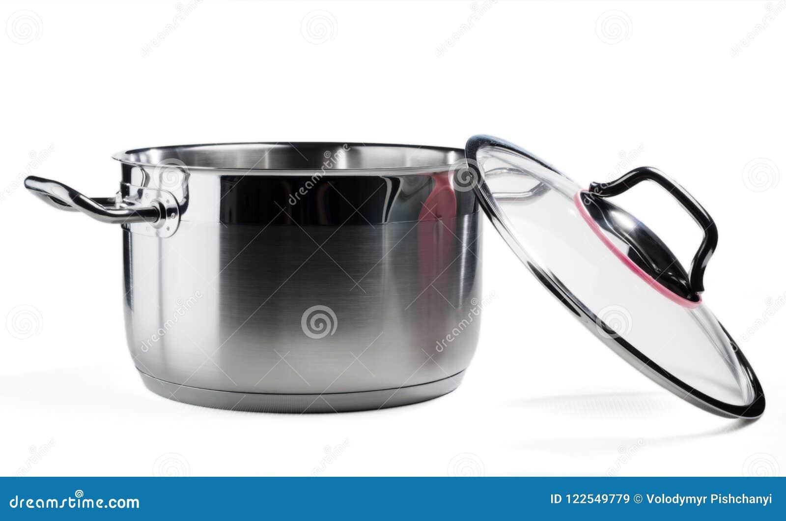 Bandeja de aço inoxidável com a tampa de vidro removida Isolado no fundo branco