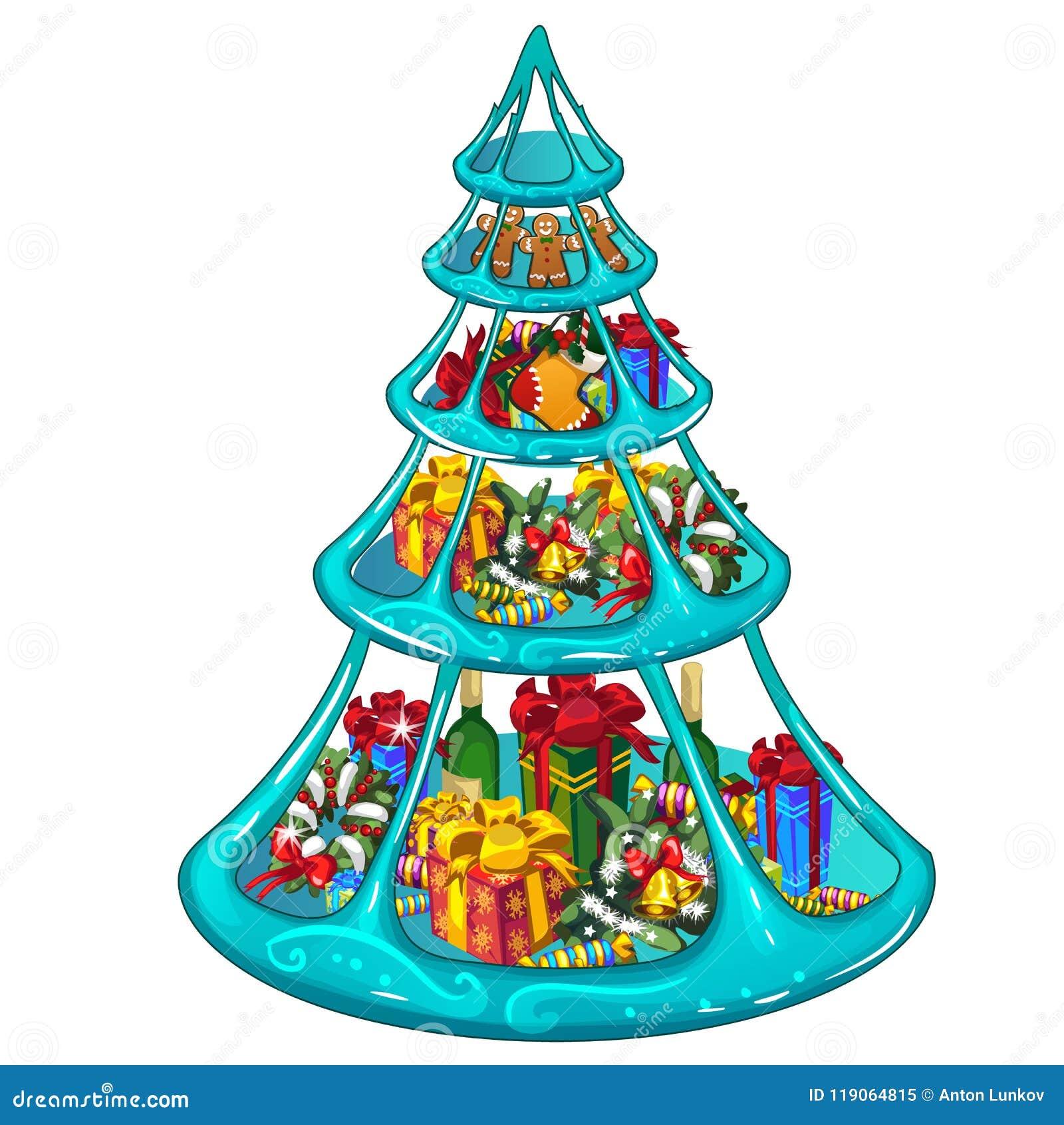 Bandeja de hielo con gradas con los regalos los dulces y for Decoraciones para gradas