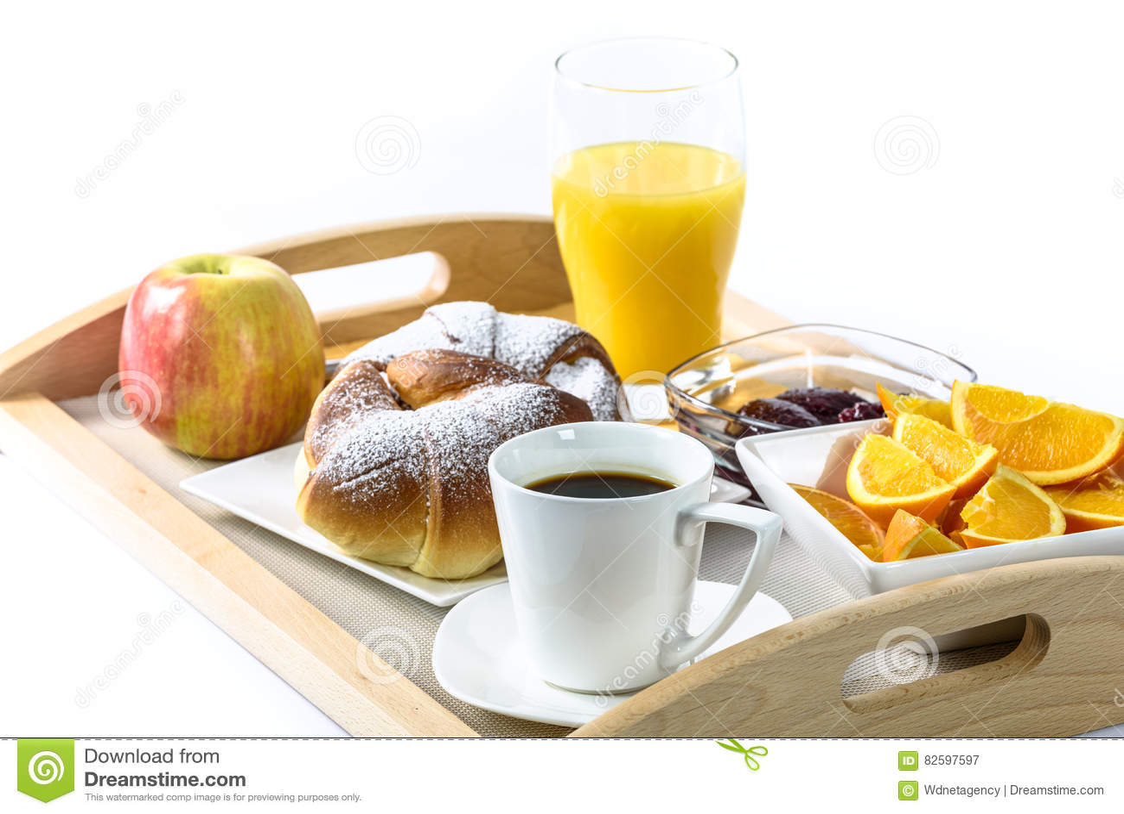 Bandeja del desayuno del hotel foto de archivo imagen - Bandeja desayuno cama ...
