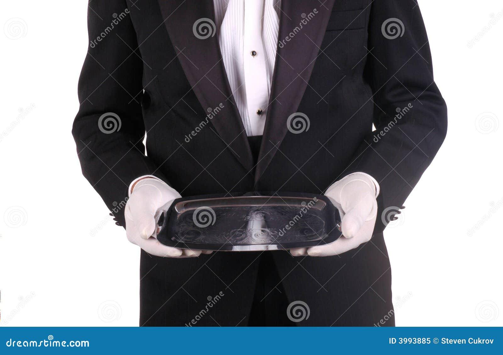 Bandeja do empregado de mesa e da prata