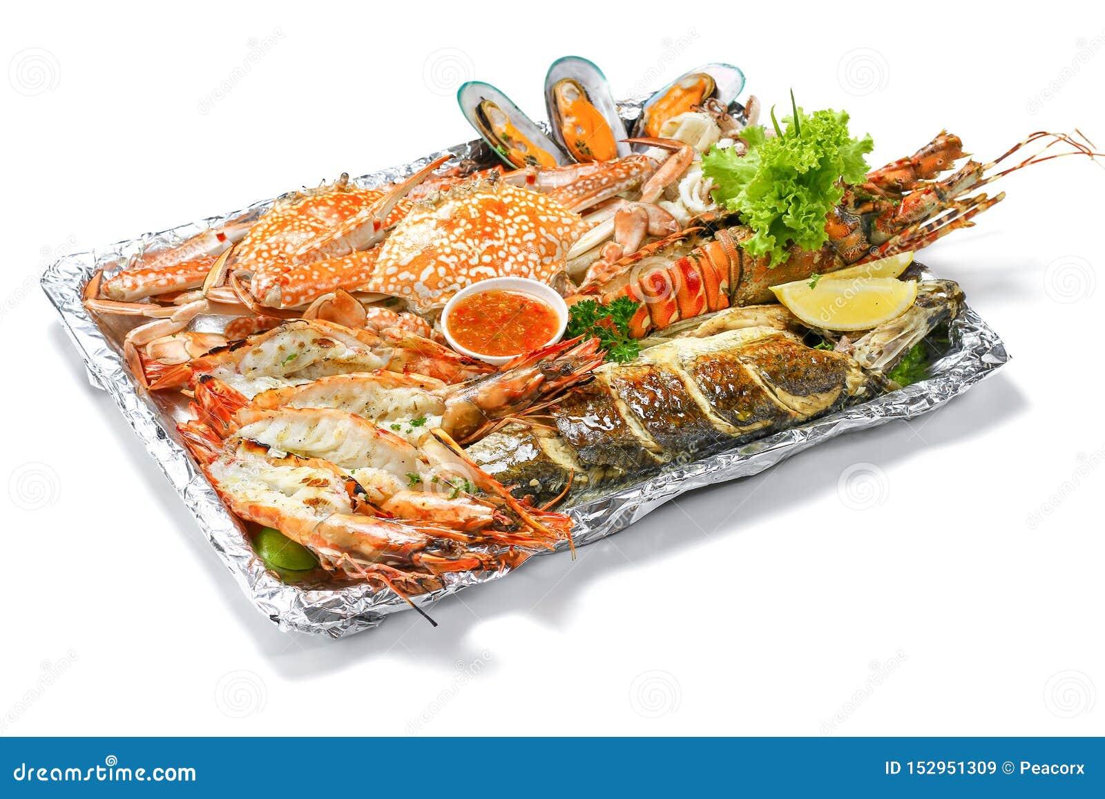 Bandeja misturada grelhada dos mariscos ajustada para conter lagostas para pescar calamares grandes azuis do Calamari dos molusco