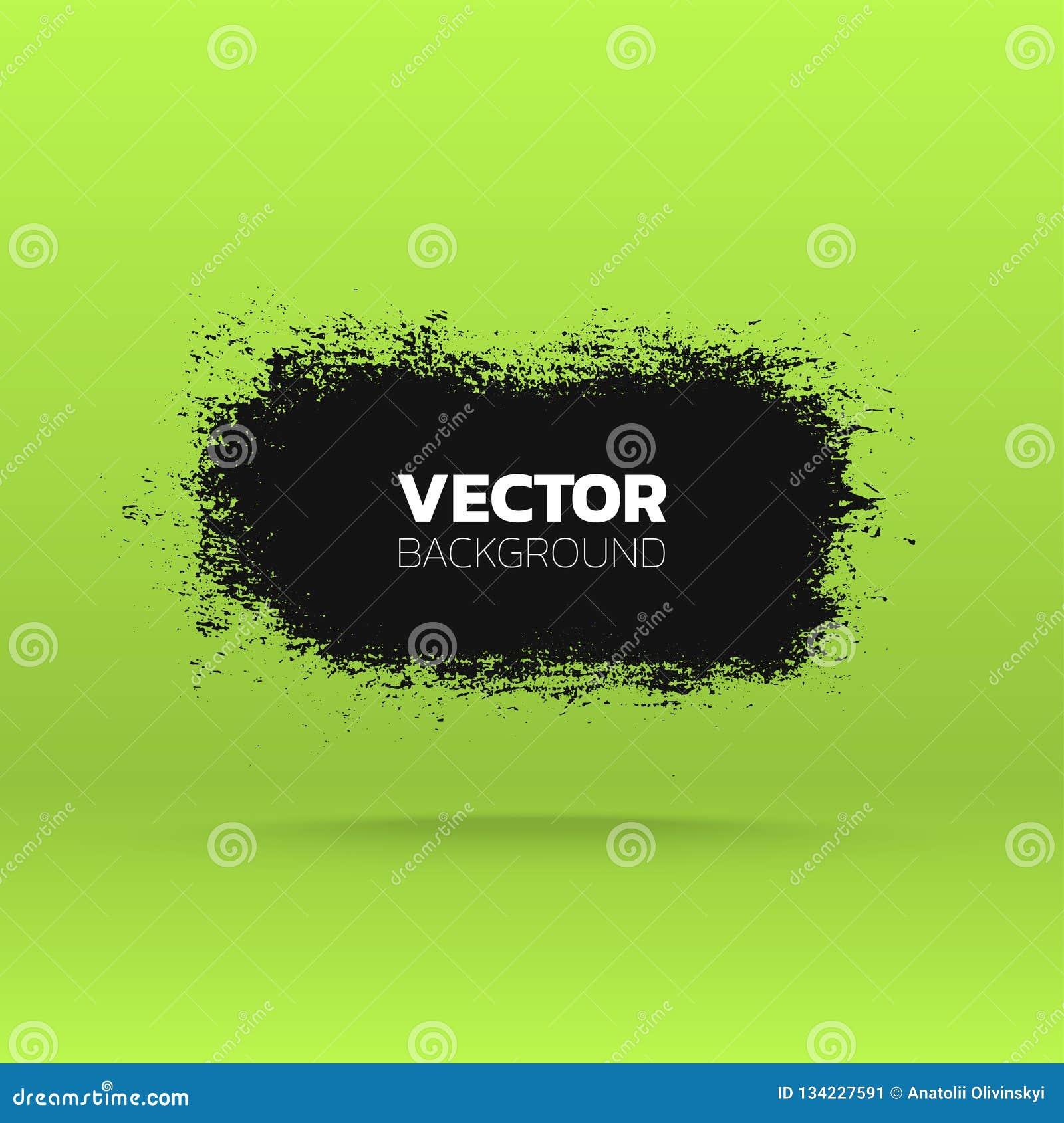 Bandera abstracta del grunge Cepille el fondo negro del movimiento de la tinta de la pintura Modelo del vector