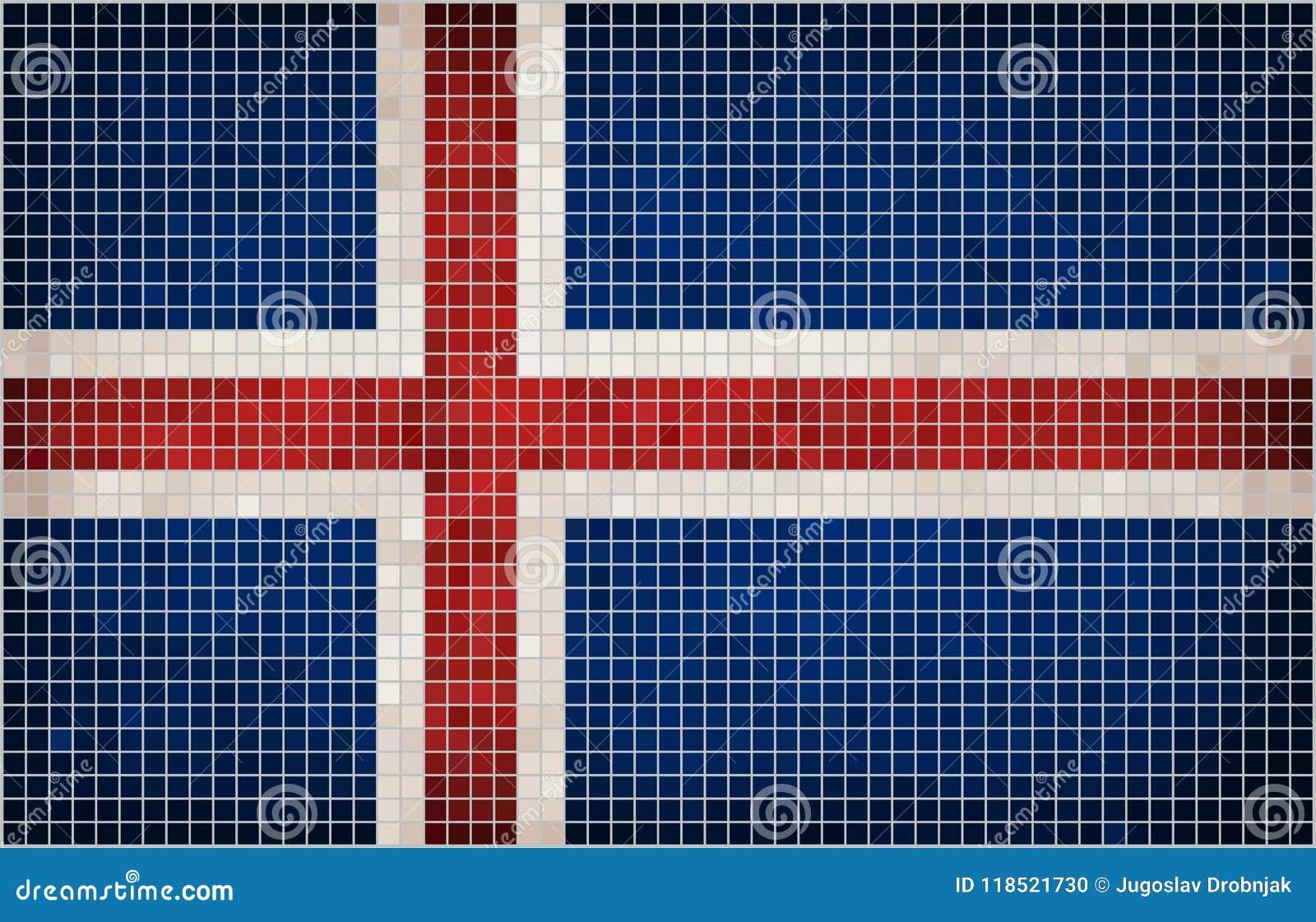 Bandera abstracta del mosaico de Islandia