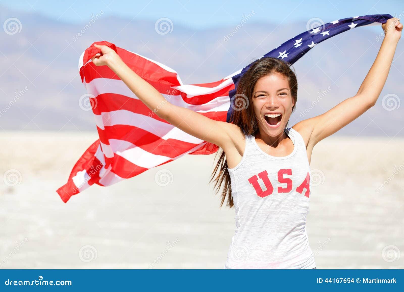 Bandera americana - la mujer los E.E.U.U. se divierte al ganador del atleta