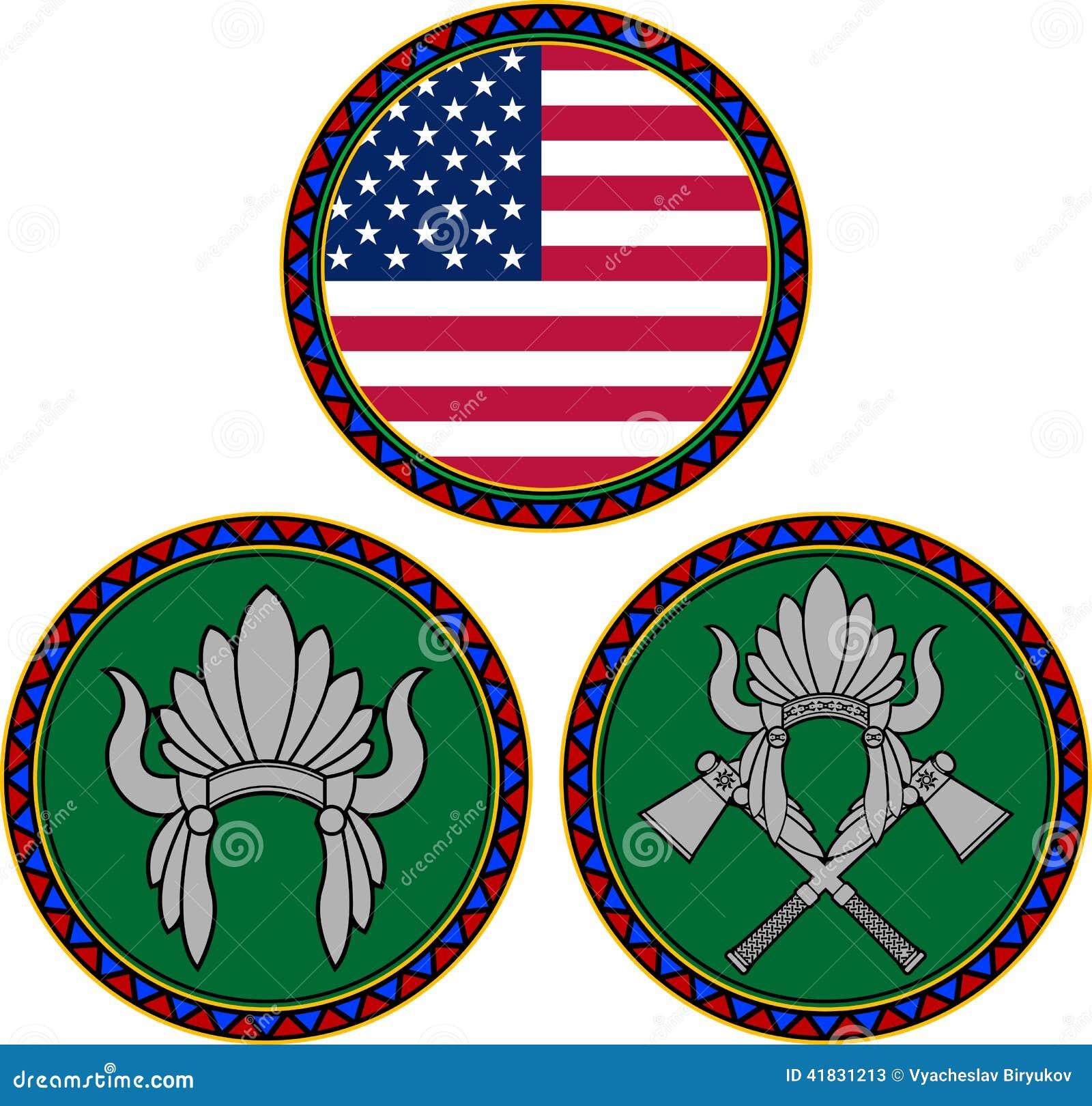 Bandera Americana Y Tocado Indio Ilustración del Vector ...