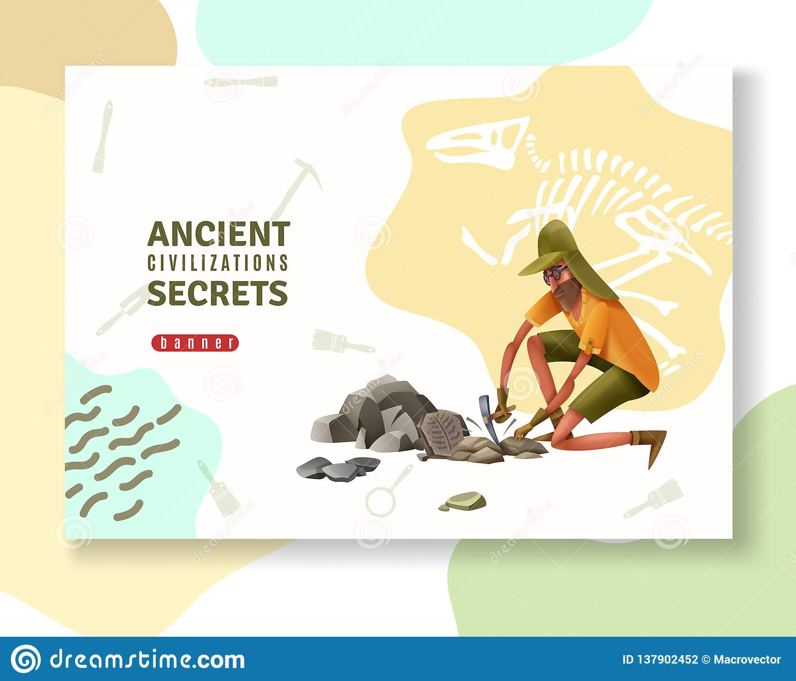 Bandera antigua de la arqueología de los secretos