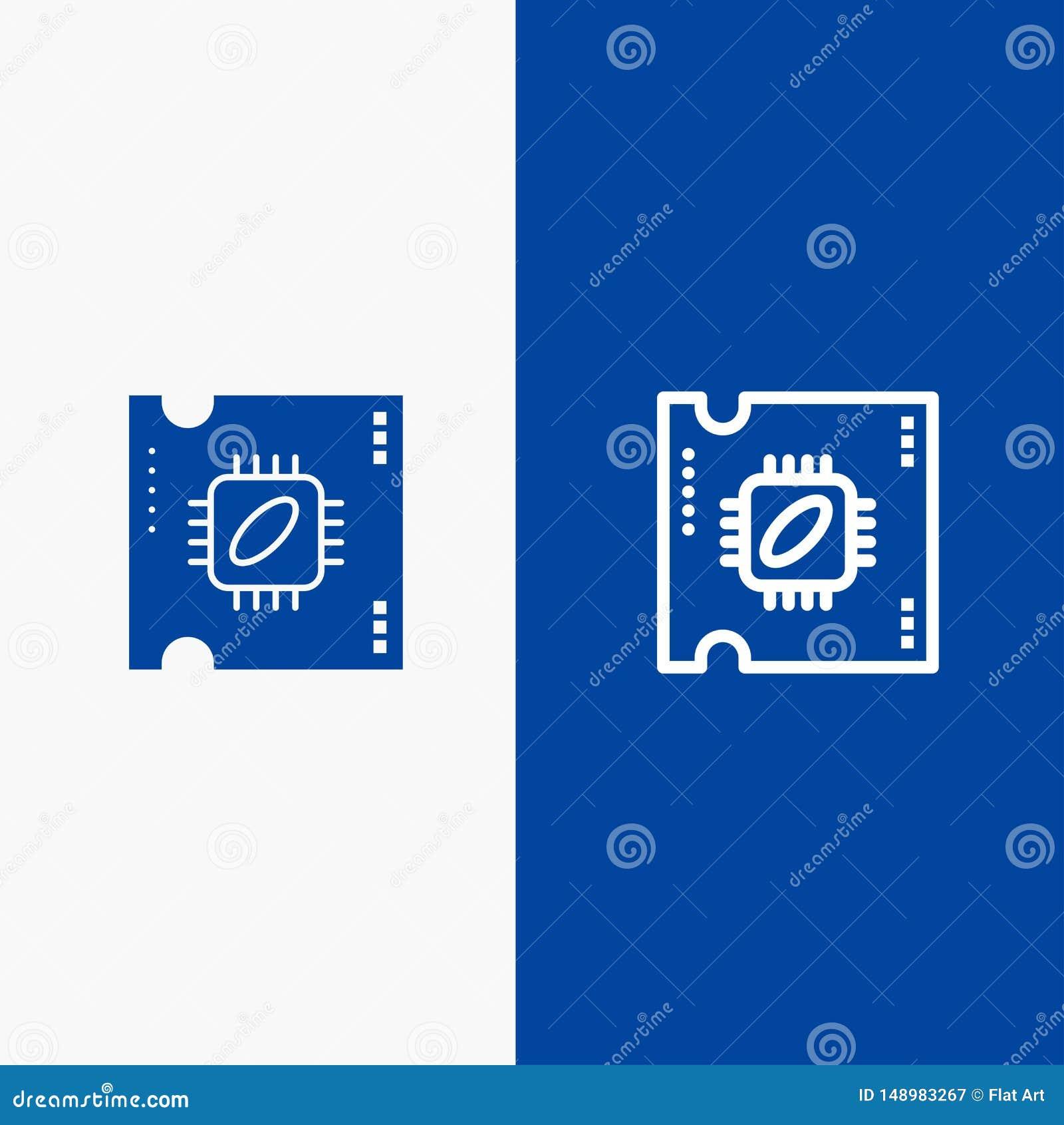 Bandera azul de bandera del icono sólido de la CPU, del microchip, del procesador, del procesador Chip Line y del Glyph del icono