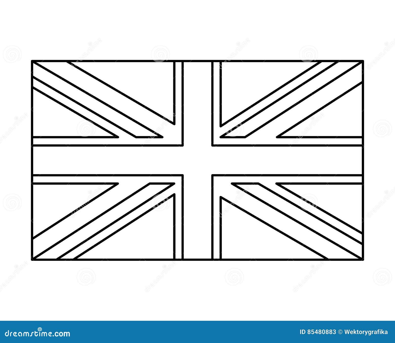 Bandera Británica Diseño Del Icono Del Símbolo Del Vector