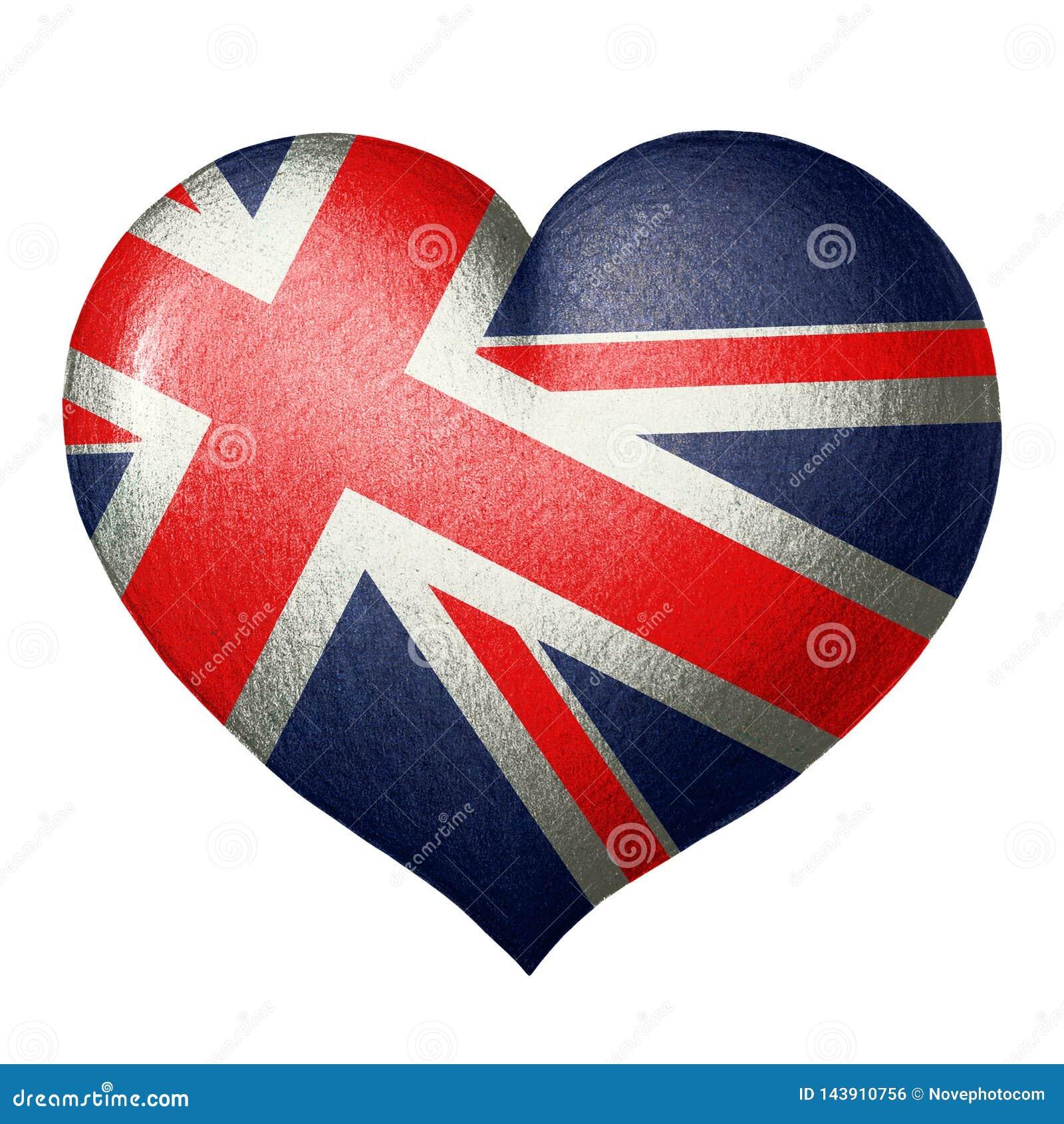 Bandera británica en la forma de un corazón Aislado en el fondo blanco