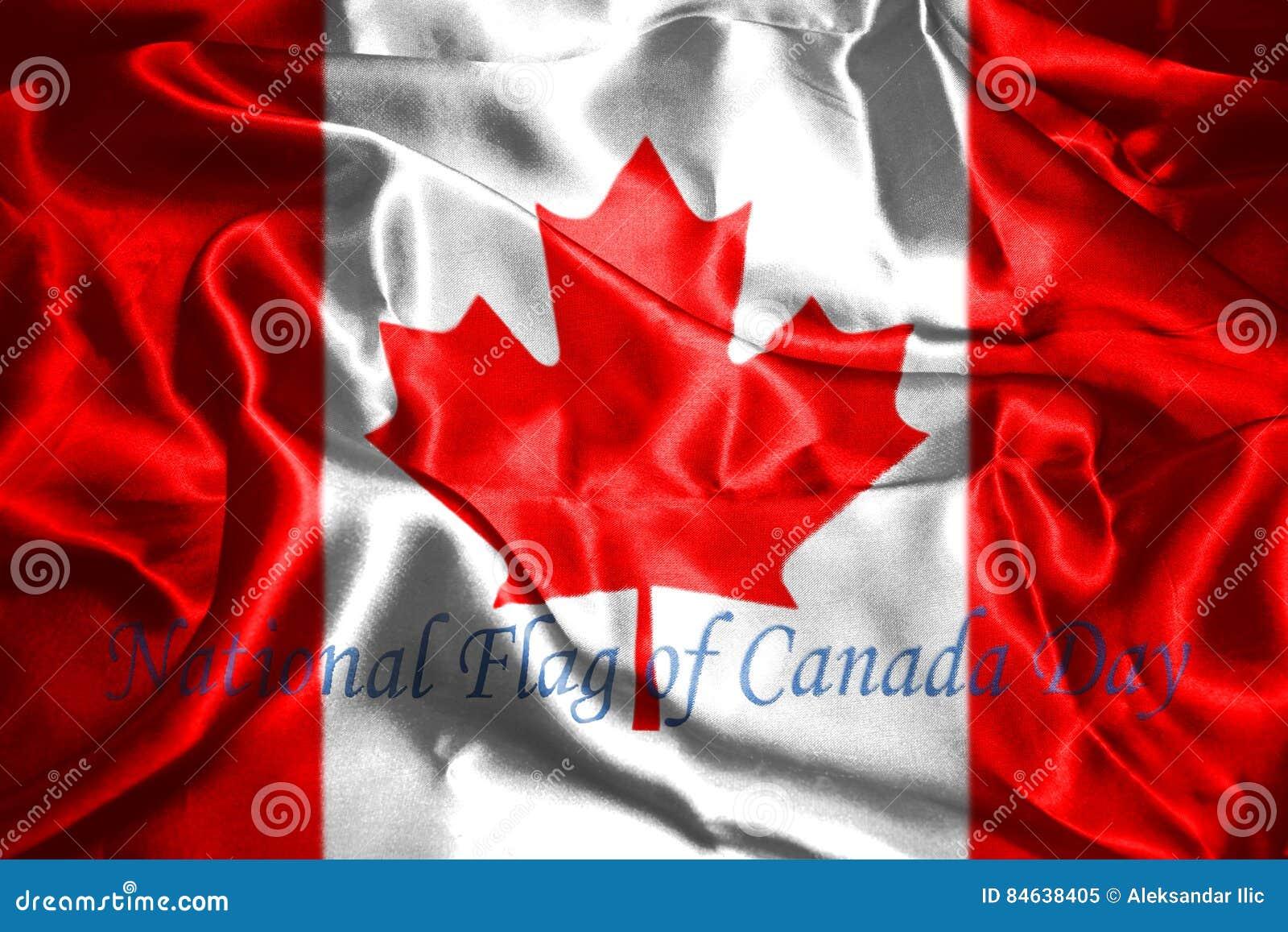 Bandera Canadiense Con La Bandera Nacional Feliz Del Texto Del Día ...