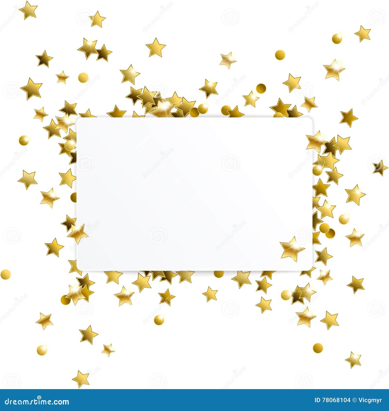 Bandera con las estrellas del confeti del oro