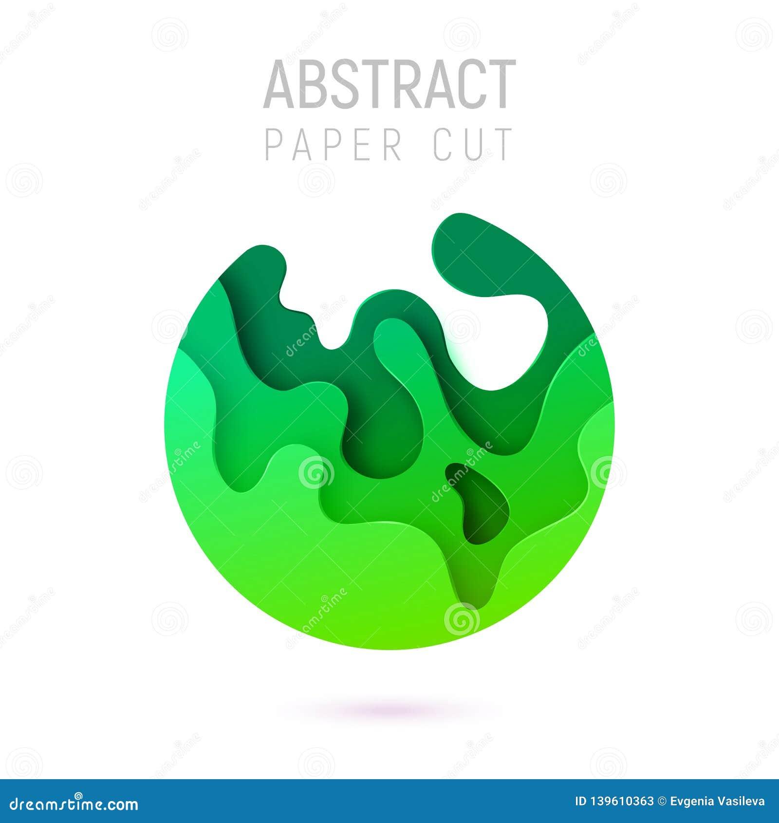 Bandera con las ondas del corte del papel del extracto del círculo 3D y fondo con el verde más popular del UFO del color Diseño d