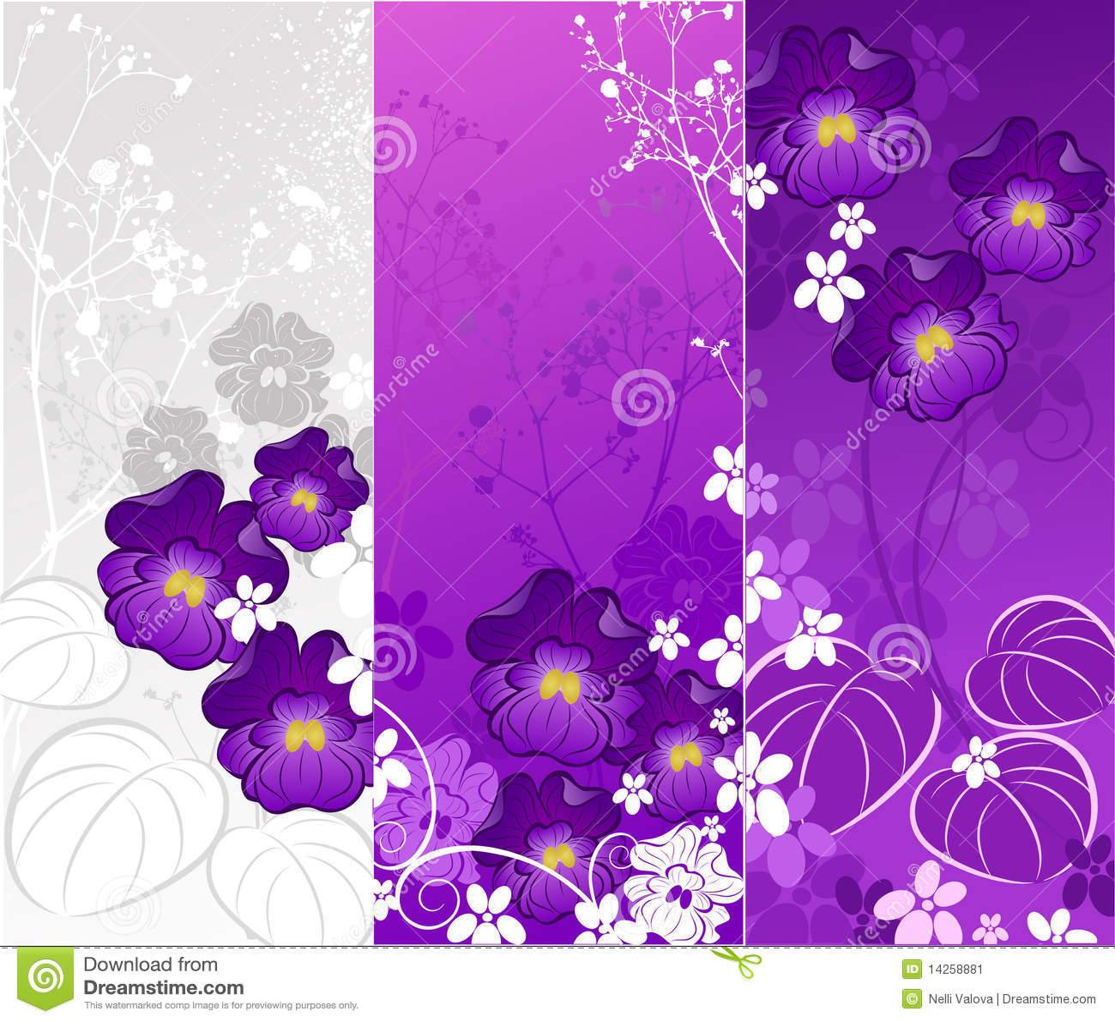 Bandera con las violetas imagen de archivo imagen 14258881 for Tres plantas ornamentales