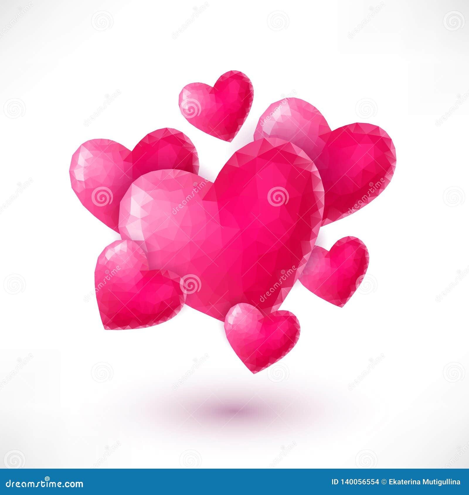 Bandera con los corazones rosados de la papiroflexia aislados