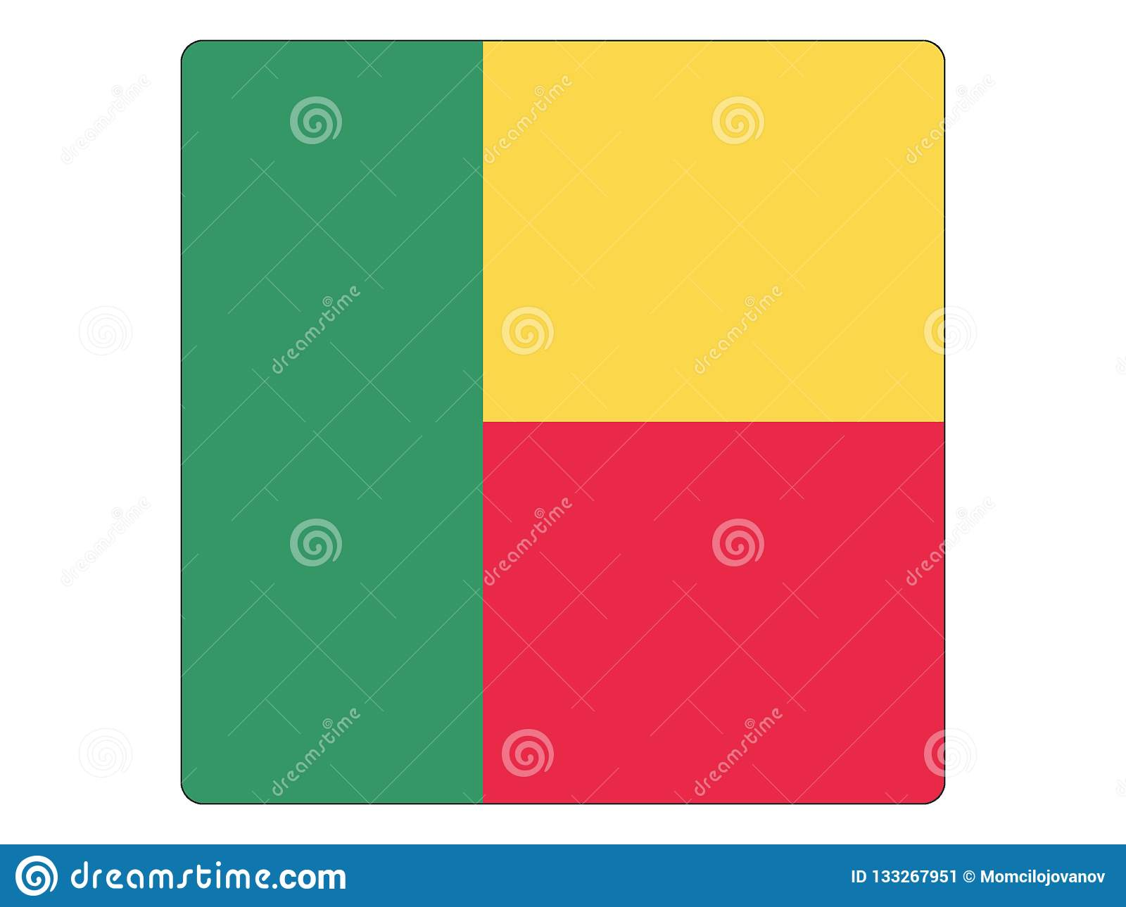 Bandera cuadrada de Benin