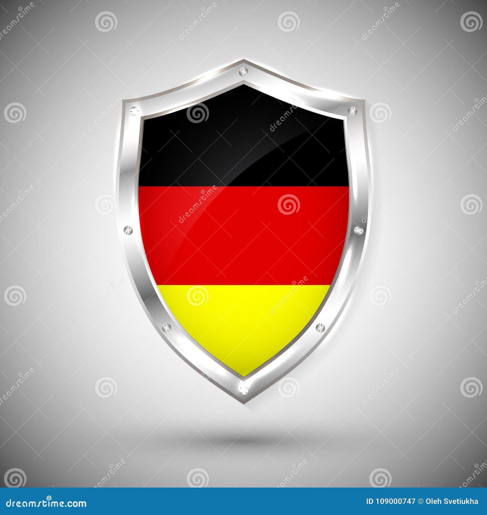 Bandera De Alemania En El Ejemplo Brillante Del Vector Del Escudo ...