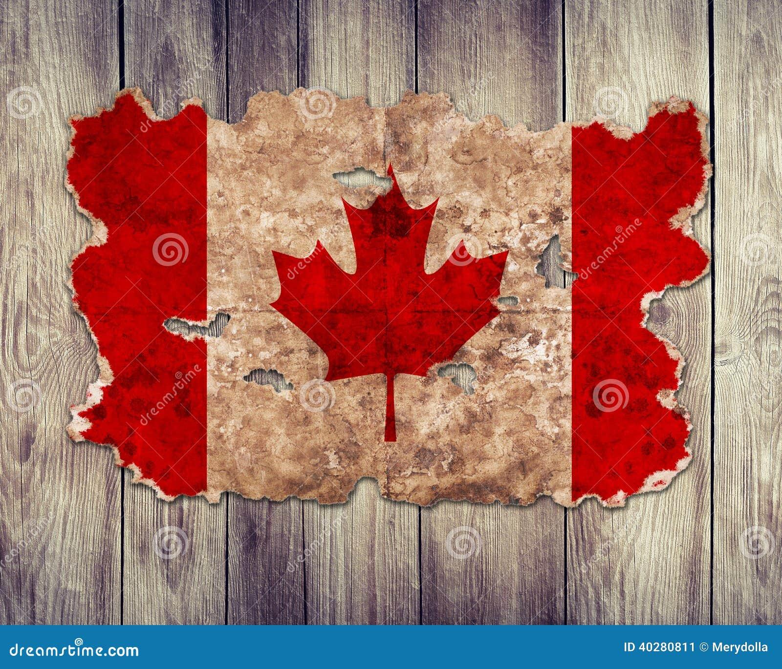 Bandera De Canadá En Forma De Papel Rasgado Del Vintage Imagen de ...
