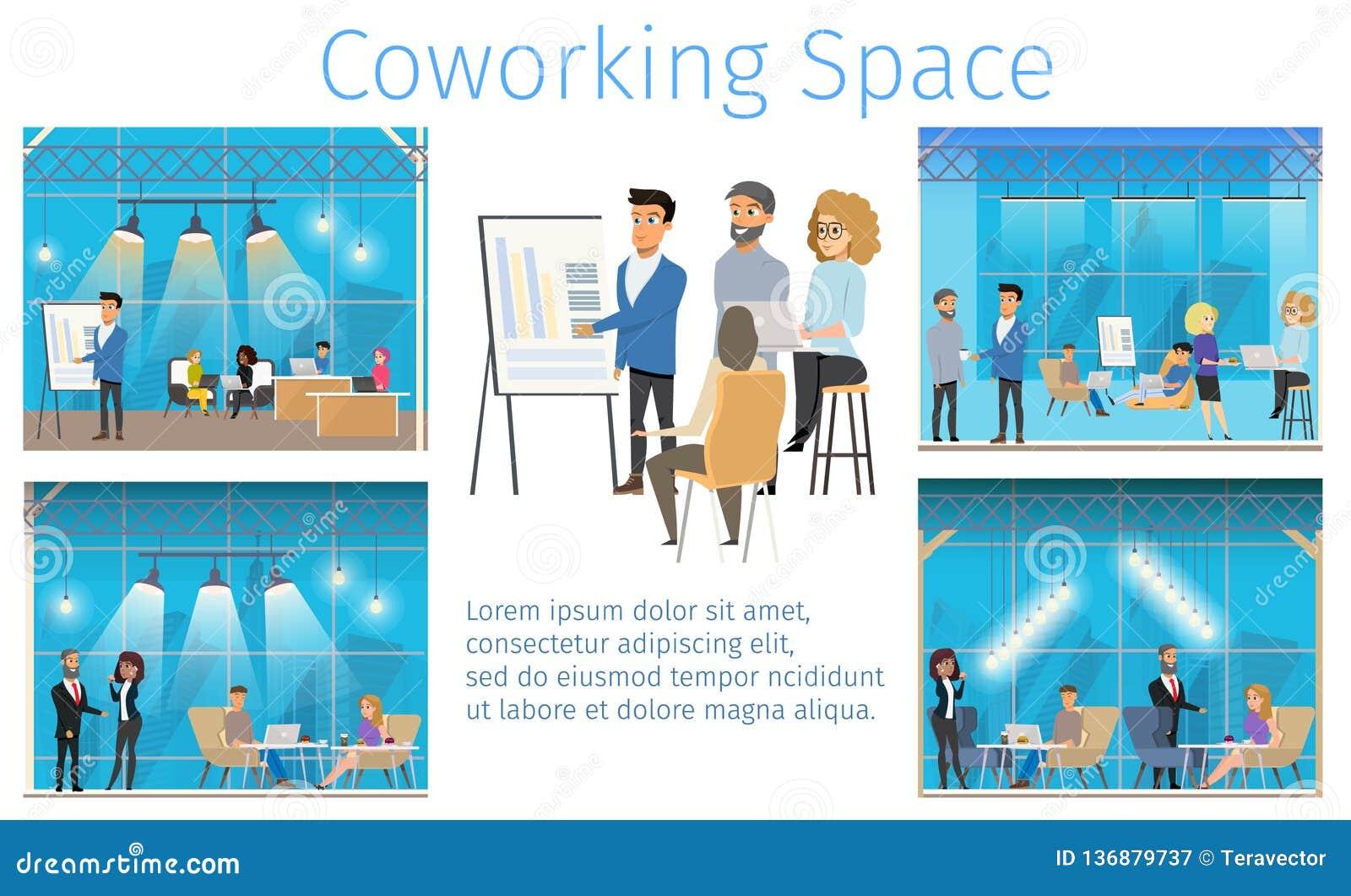 Bandera de centro cómoda moderna del servicio de Coworking