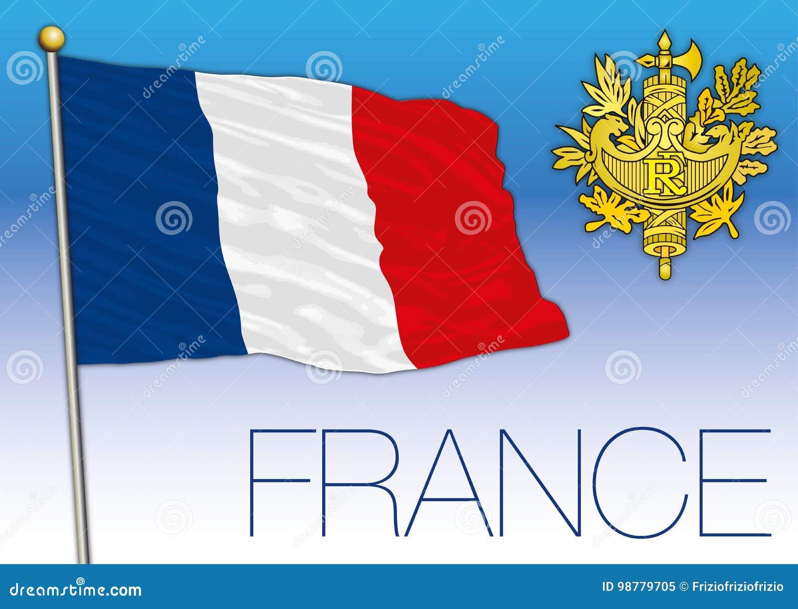 Bandera De Francia Con El Escudo De Armas Ilustración Del