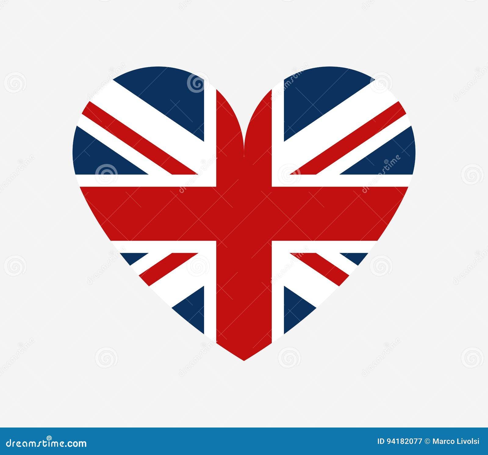 Bandera De Gran Bretaña En La Forma De Un Corazón Stock de ...