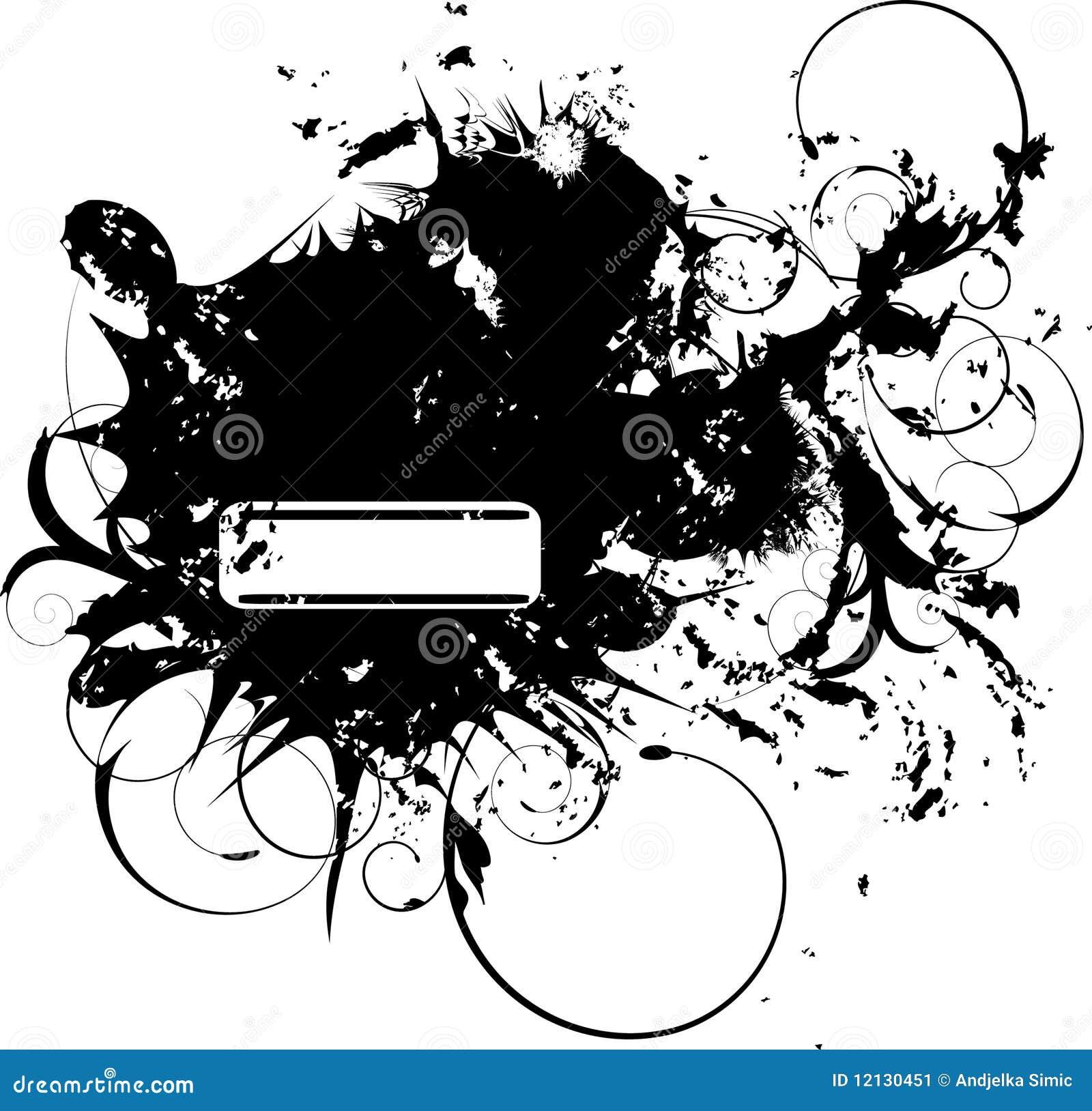 Bandera de Grunge con el elemento floral