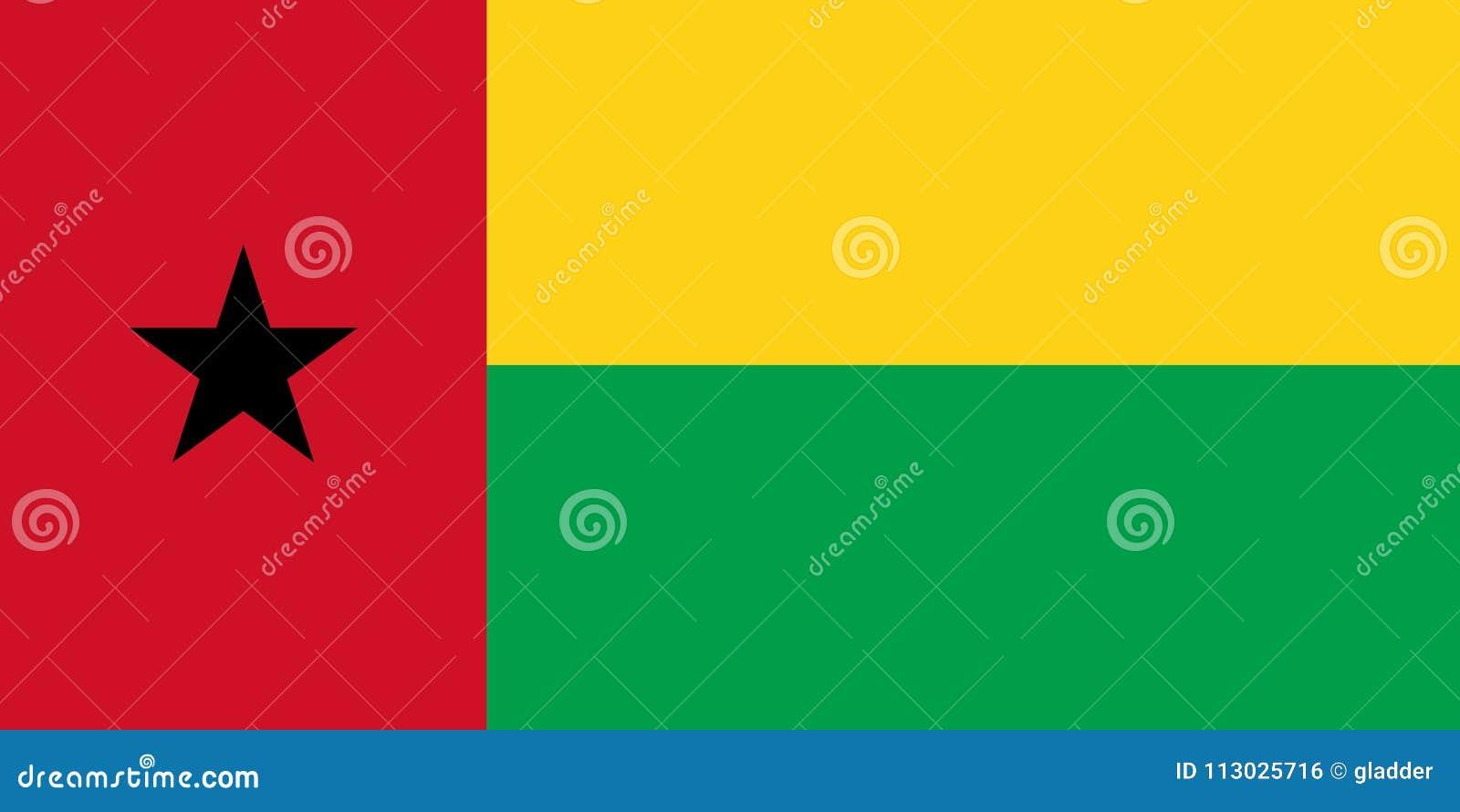Bandera de Guinea-Bissau en los colores y las proporciones oficiales, imagen del vector