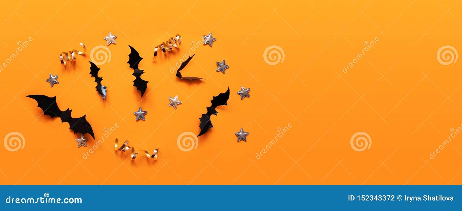 Bandera de Halloween con negro pero en un fondo anaranjado, visión superior