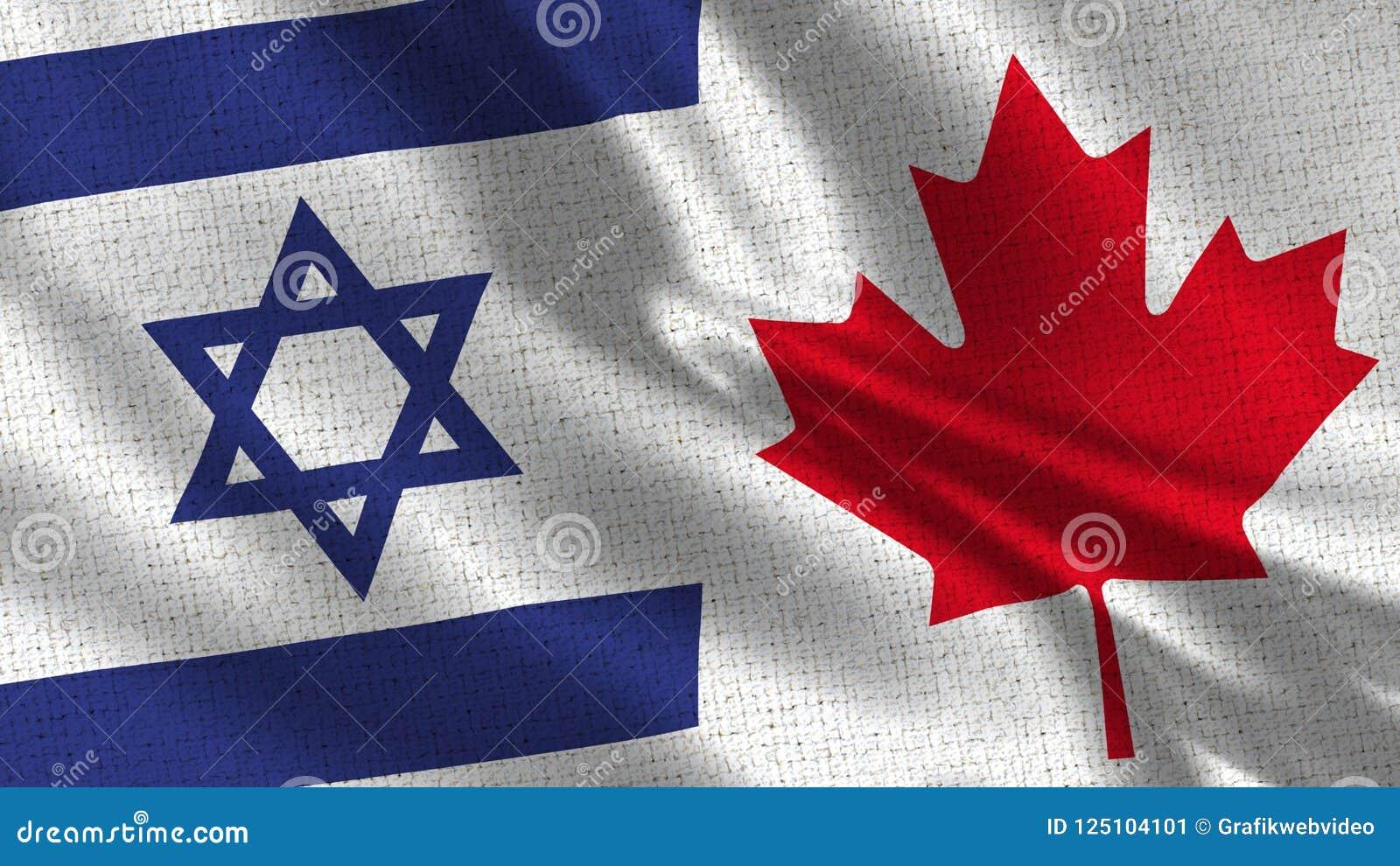 Bandera de Israel y de Canadá - bandera dos junto