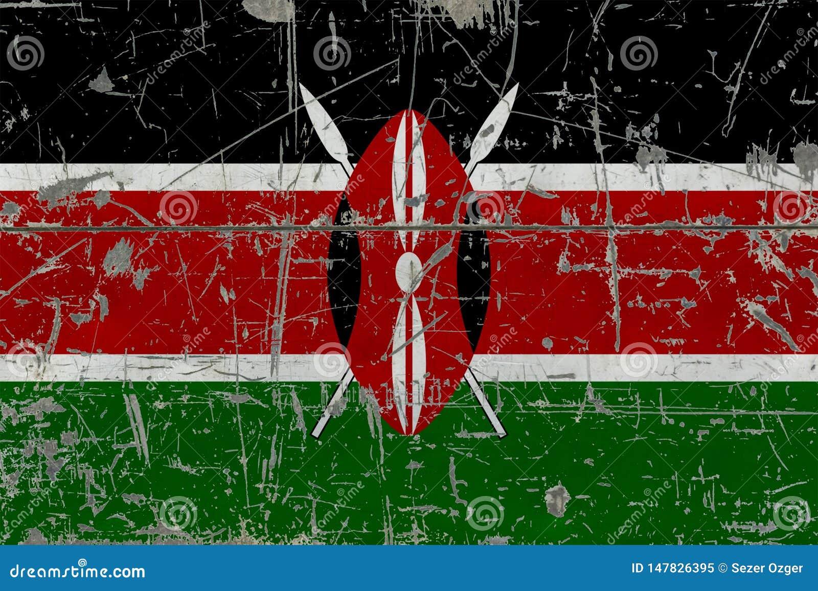 Bandera de Kenia del Grunge en vieja superficie de madera rasguñada Fondo nacional del vintage