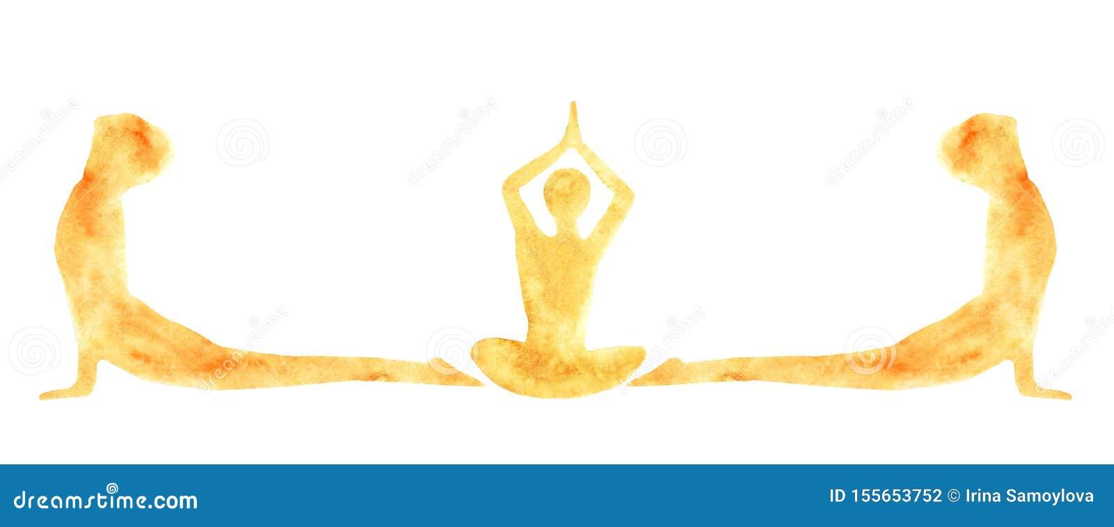 Bandera de la acuarela de siluetas de las actitudes practicantes Suri Namaskar de los asanas de la yoga de la gente