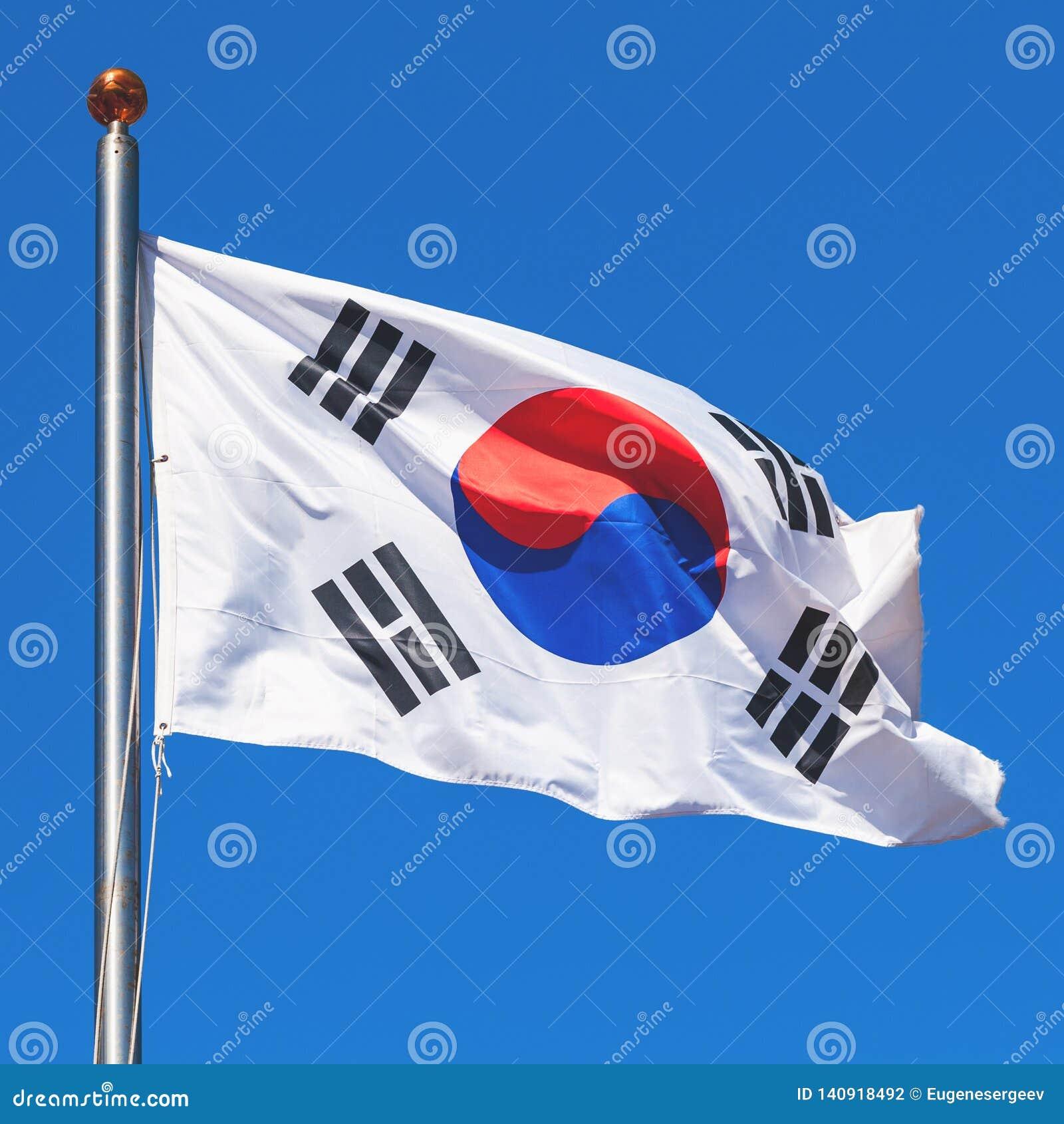 Bandera de la Corea del Sur sobre el cielo azul