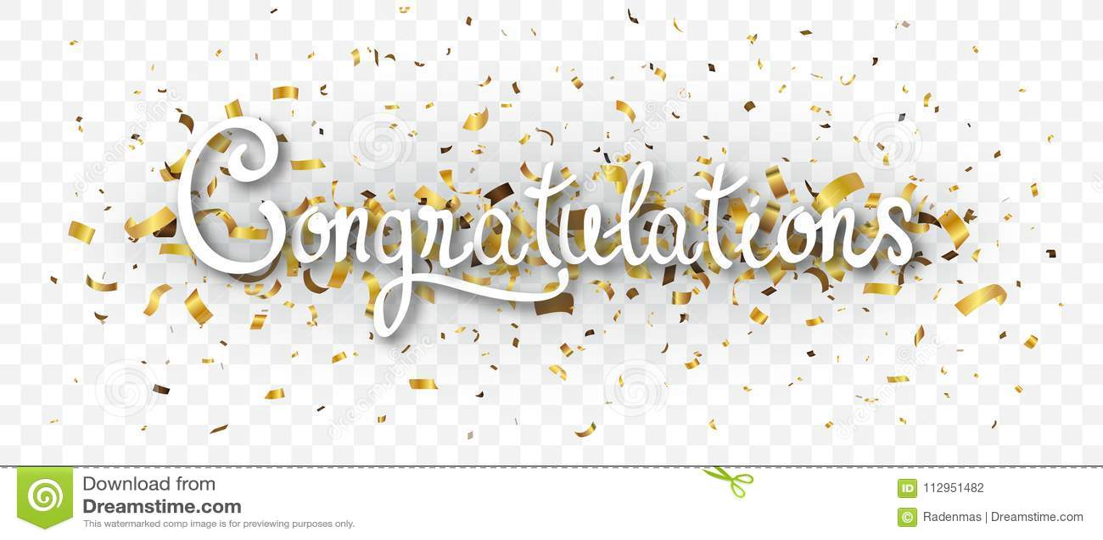 Bandera de la enhorabuena con el confeti del oro, aislado en fondo transparente