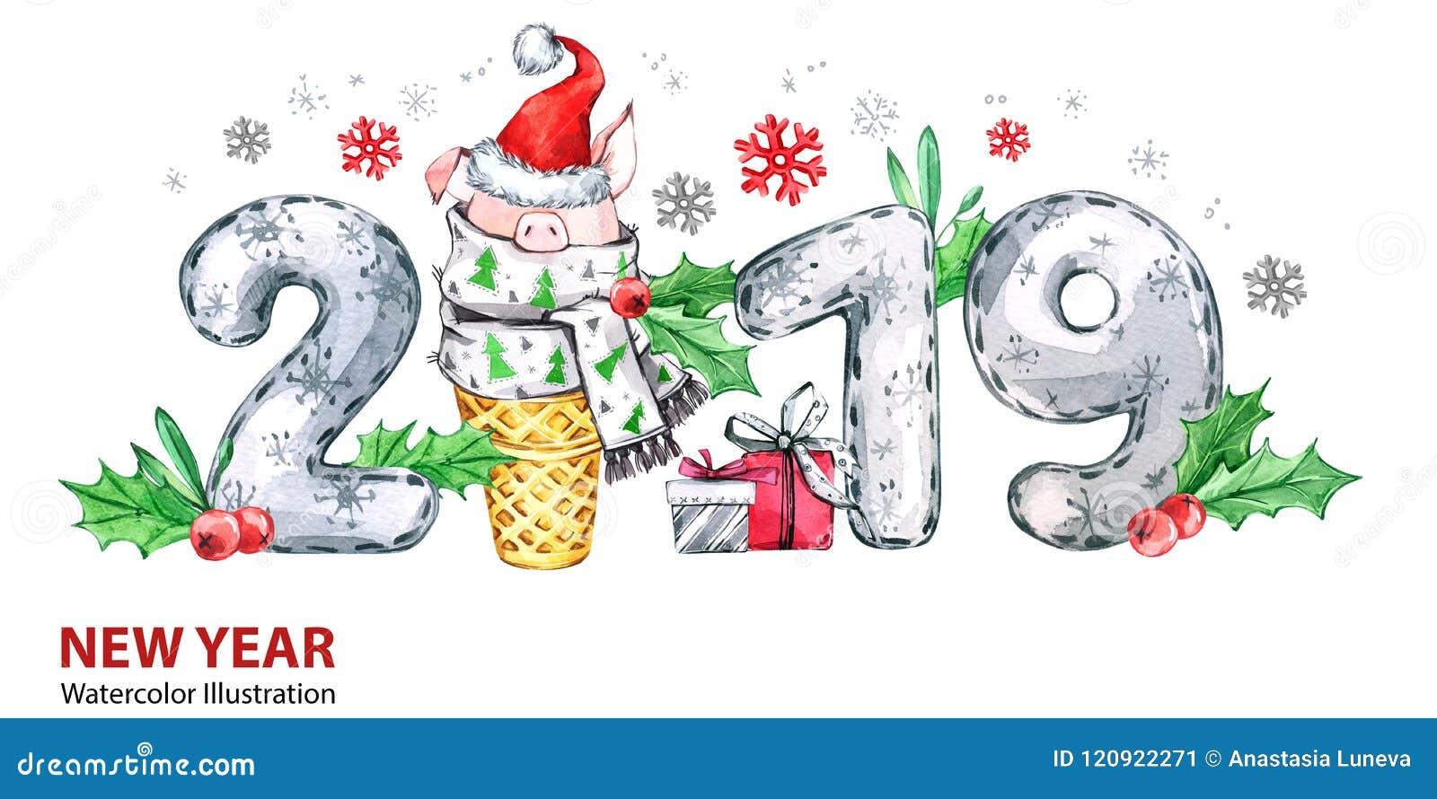 Bandera de la Feliz Año Nuevo 2019 Cerdo lindo con el sombrero de Papá Noel en cono y números de la galleta Ejemplo de la acuarel