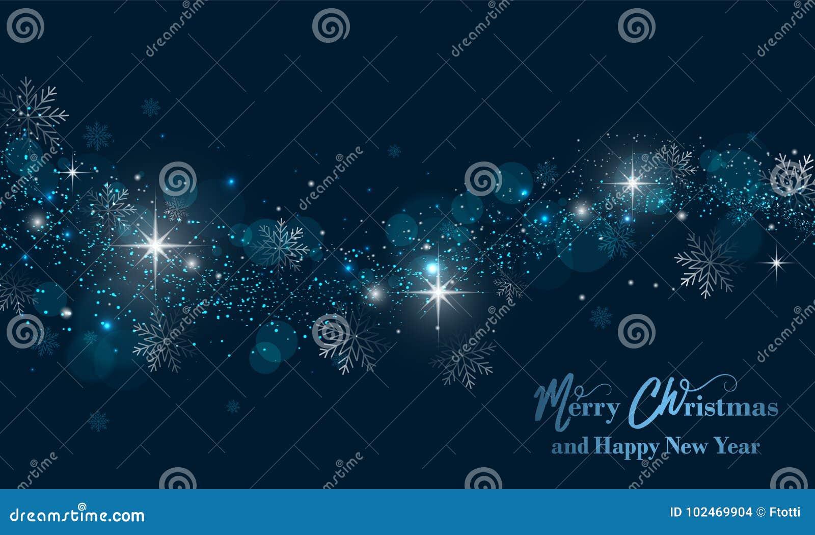 Bandera de la Feliz Navidad y de la Feliz Año Nuevo con las estrellas, el brillo y los copos de nieve Fondo del vector
