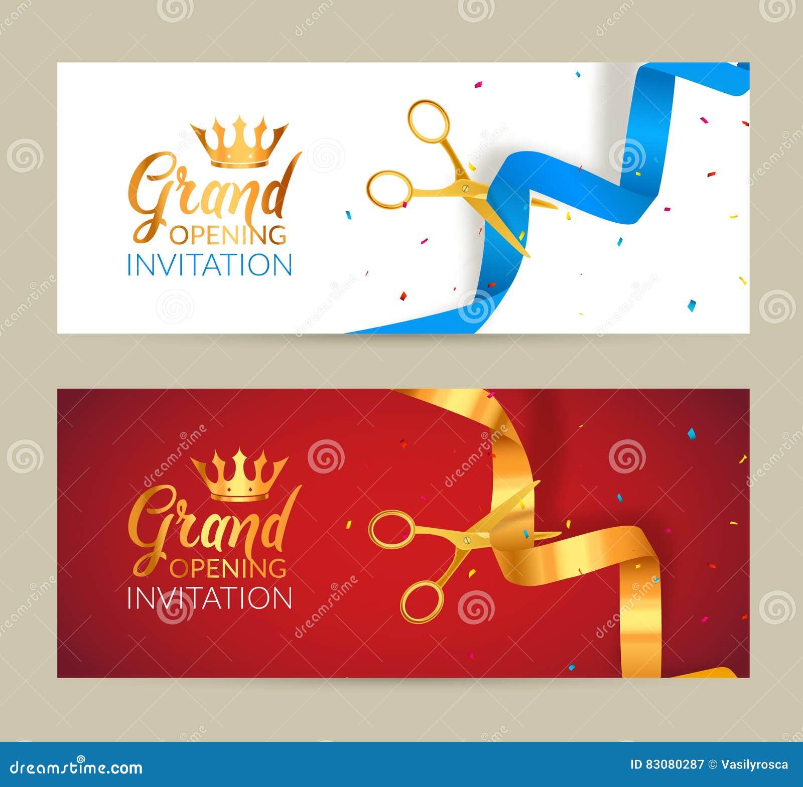 Bandera de la invitación de la gran inauguración La cinta de oro y la cinta azul cortaron evento de la ceremonia Tarjeta de la ce