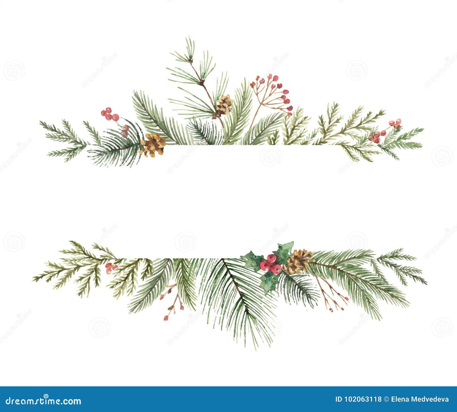 Bandera de la Navidad del vector de la acuarela con las ramas y el lugar del abeto para el texto