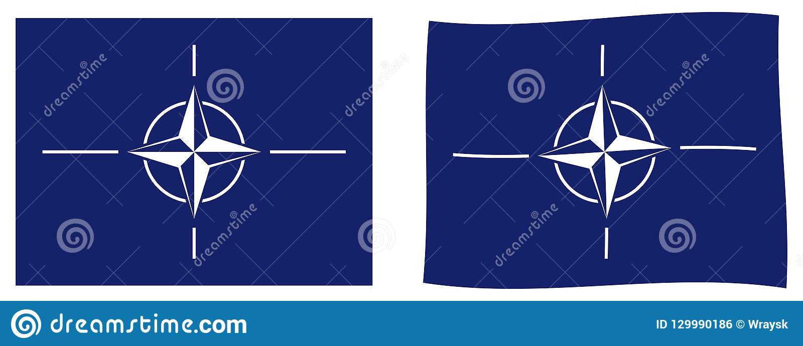 Bandera de la OTAN de la Organización del Tratado del Atlántico Norte Simple y sligh